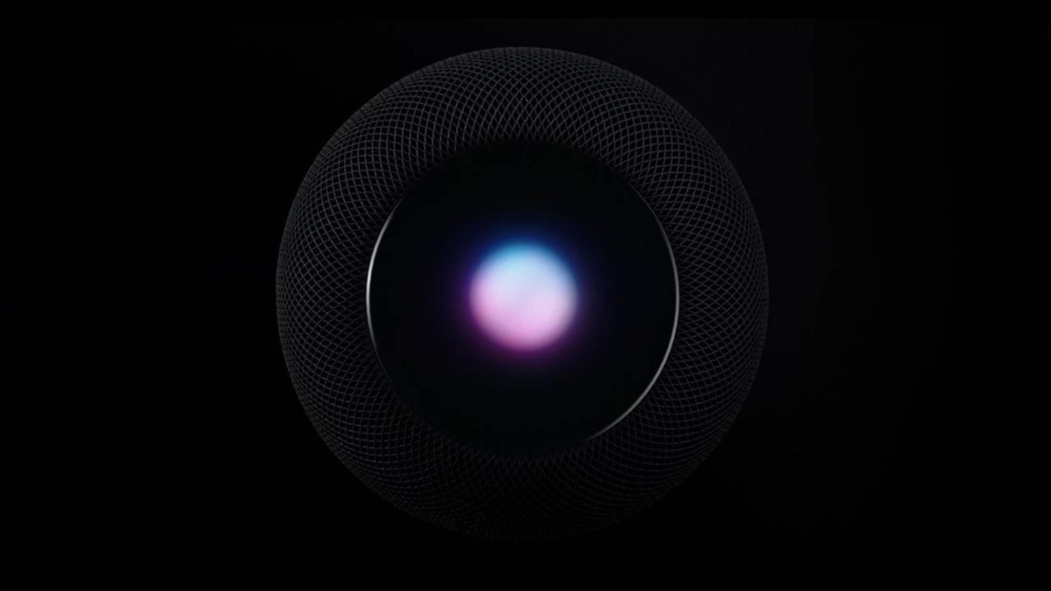 Das Display auf der Oberseite des Apple HomePod kann mit Touch-Eingaben bedient werden.