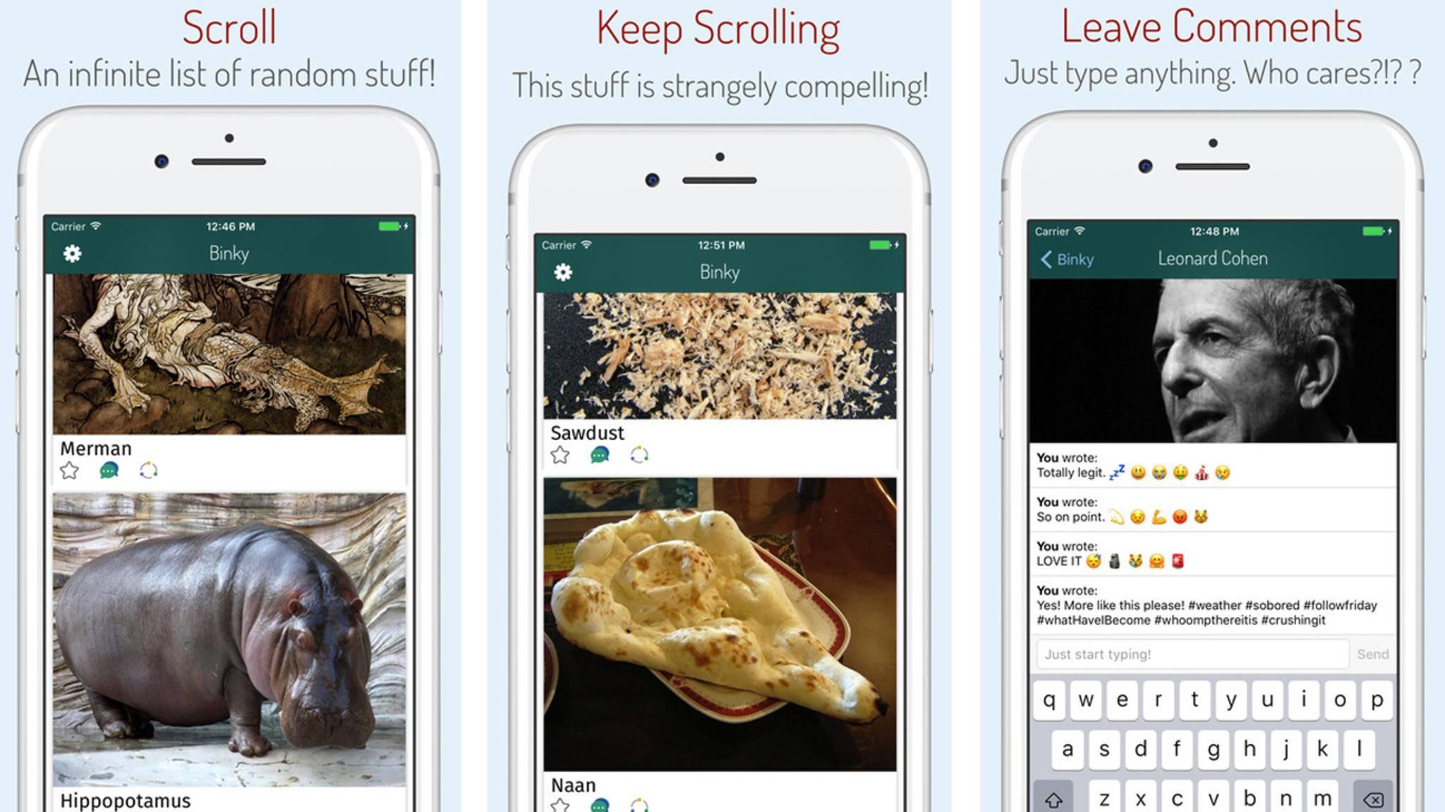 Bilder von Nilpferden und Sägemehl findest Du in der App Binky.