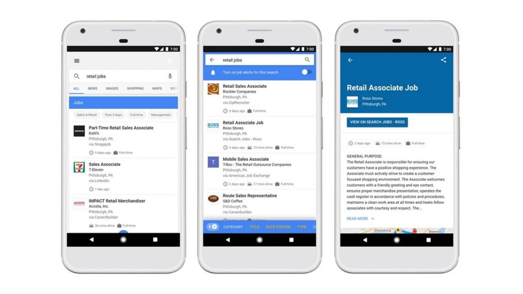 Google lässt Nutzer jetzt auch nach Jobs suchen.