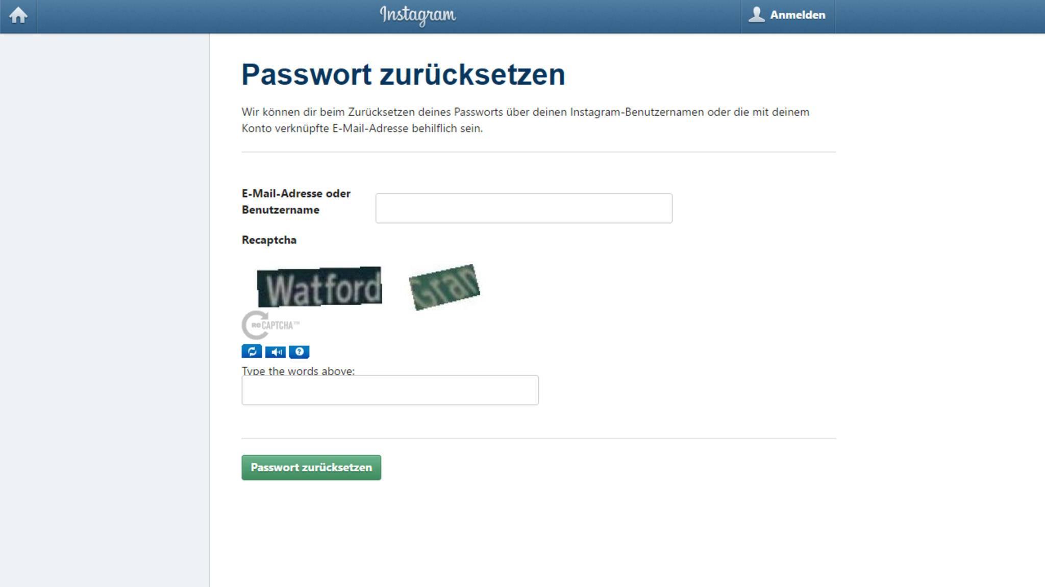 Klickst Du darauf, hast Du Die Möglichkeit, das Passwort zurückzusetzen.