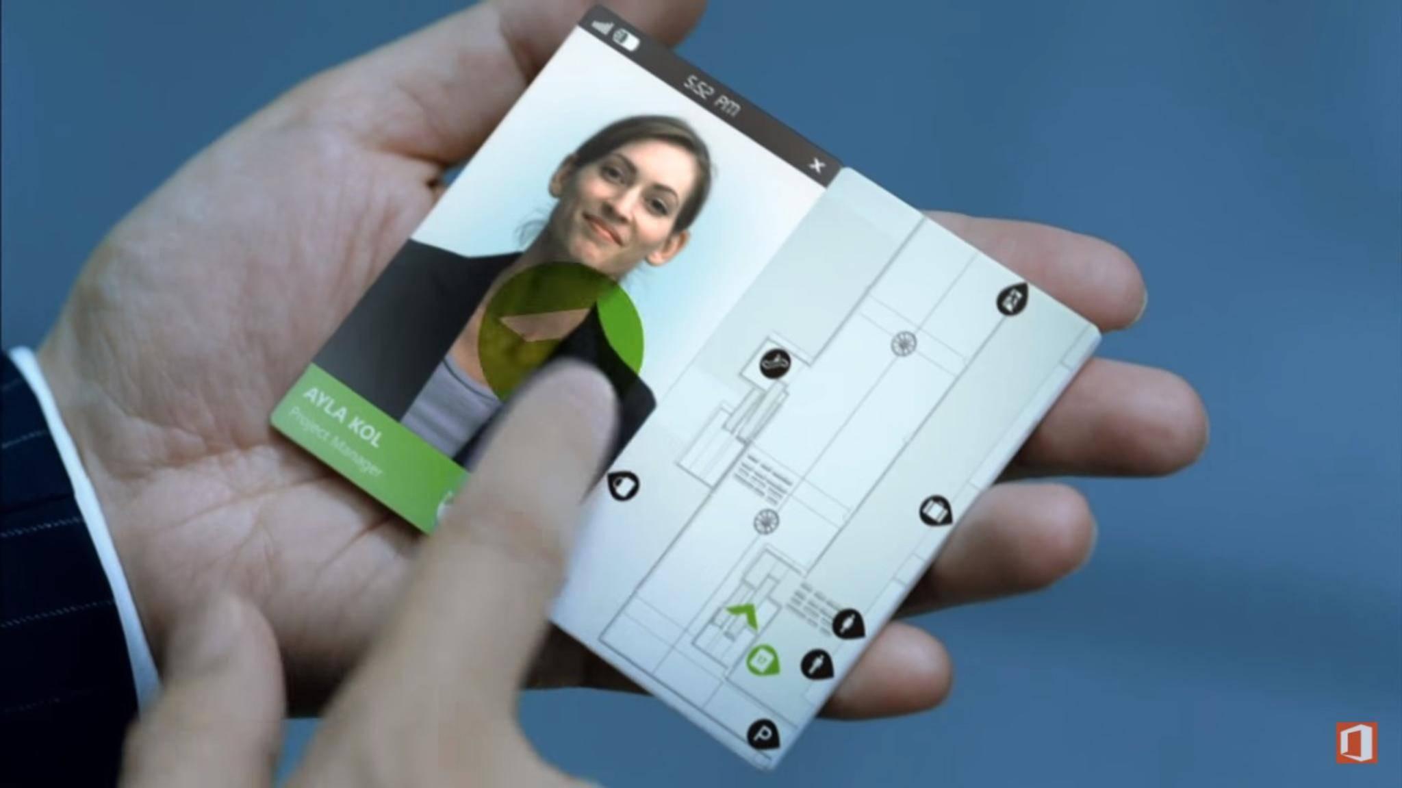 Bereits im Jahr 2009 veröffentlichte Microsoft ein Konzeptvideo von einem faltbaren Smartphone.