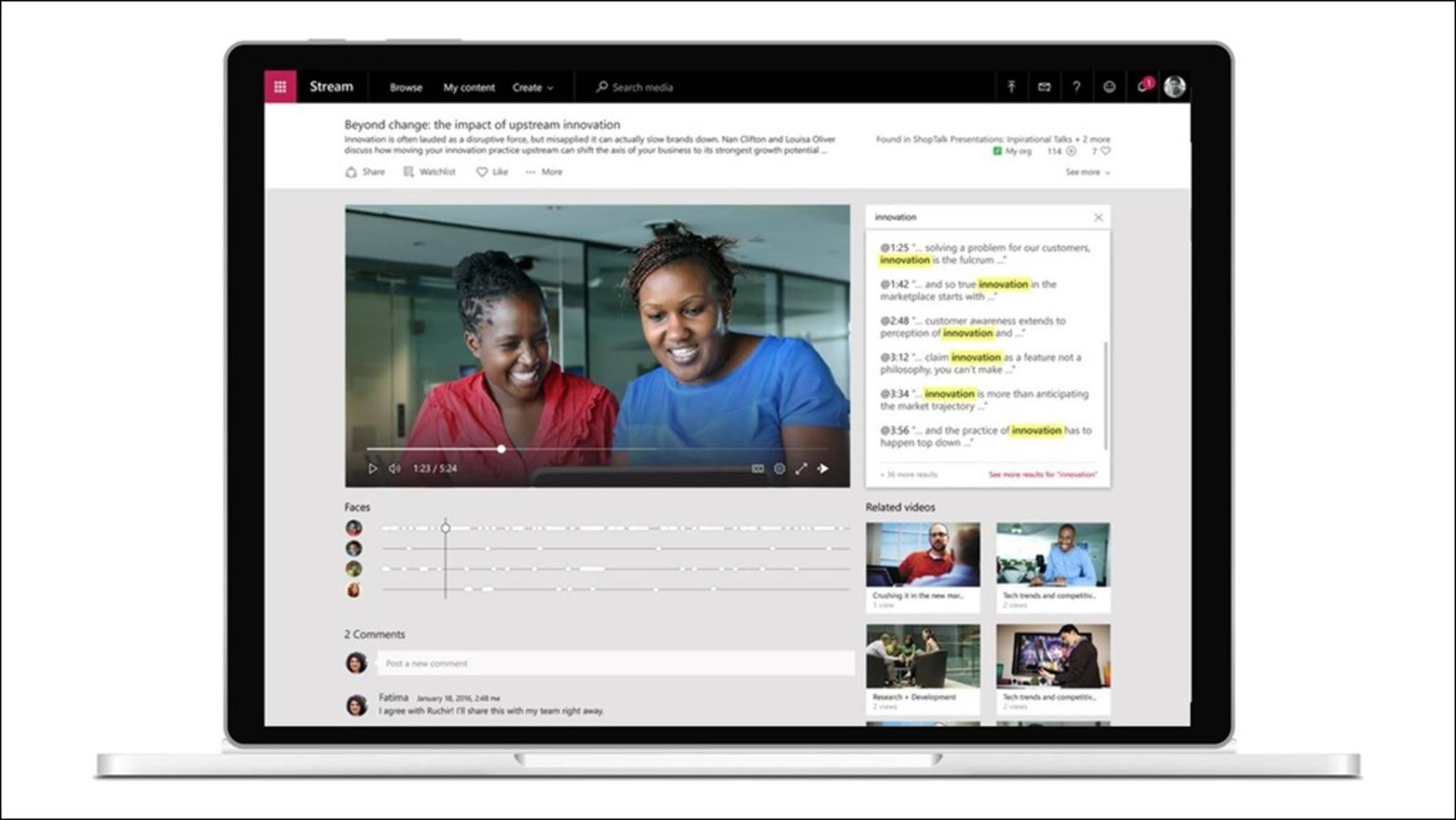 Microsoft Stream dient dem Teilen von Business-Videos.