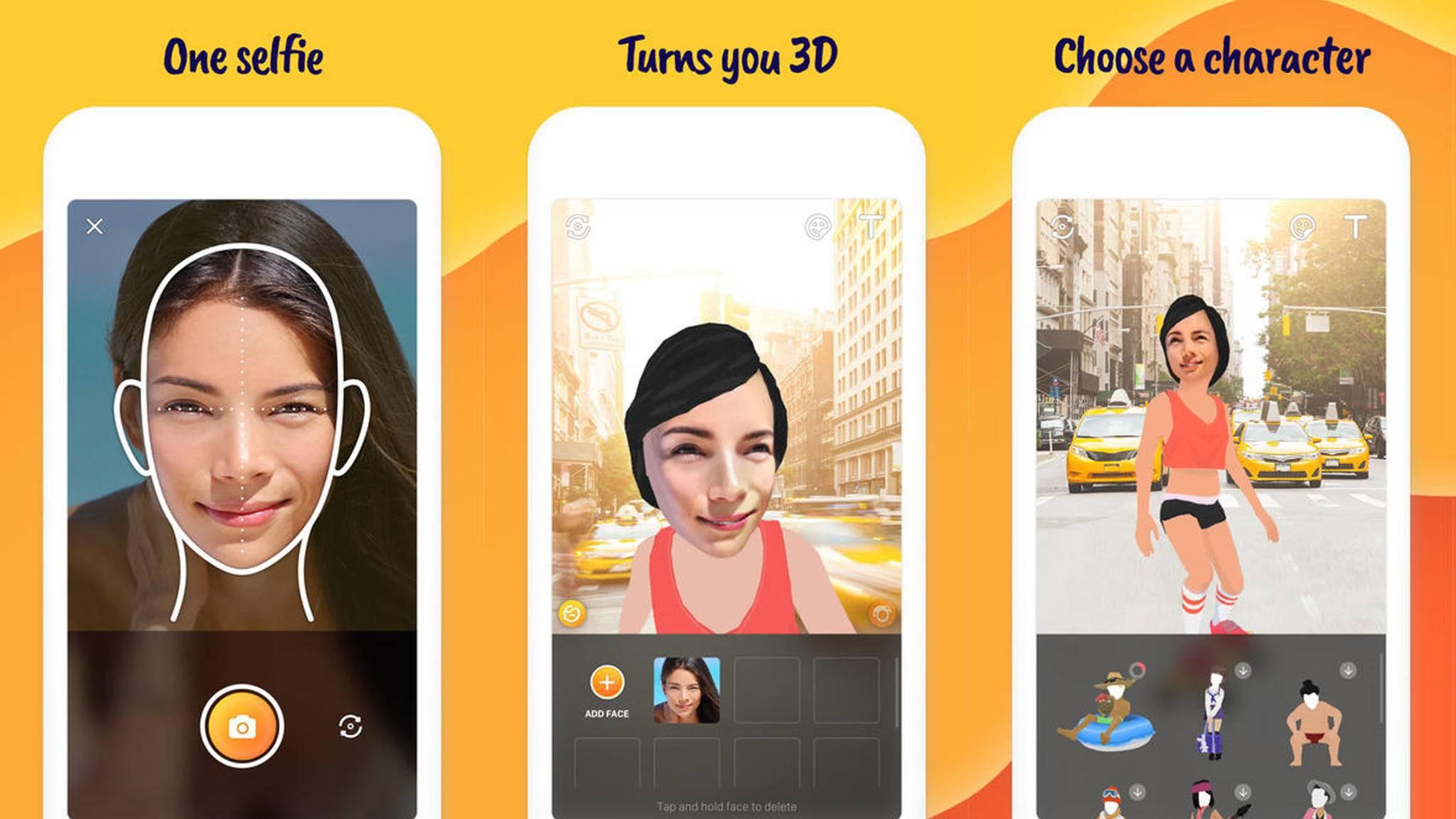 Die 3D-Selfie-App Miso Happy macht aus Dir einen Cartooncharakter.