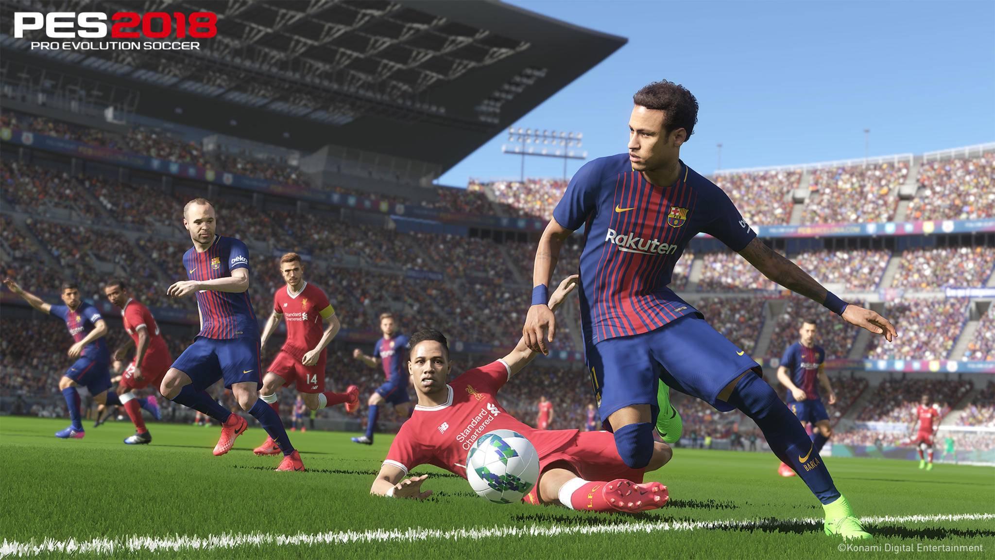 PES 2018: Barcelona spielt gegen Liverpool.