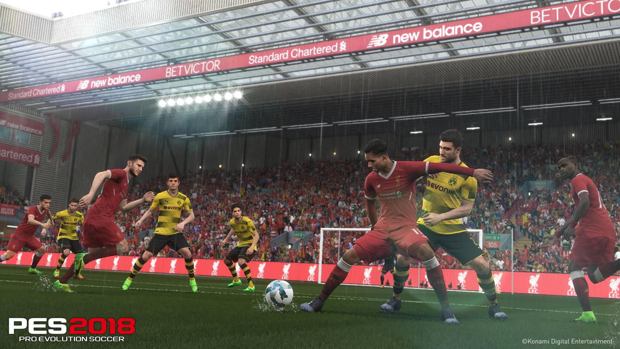 """In """"PES 2018"""" offiziell lizenziert: Liverpool & Borussia Dortmund."""