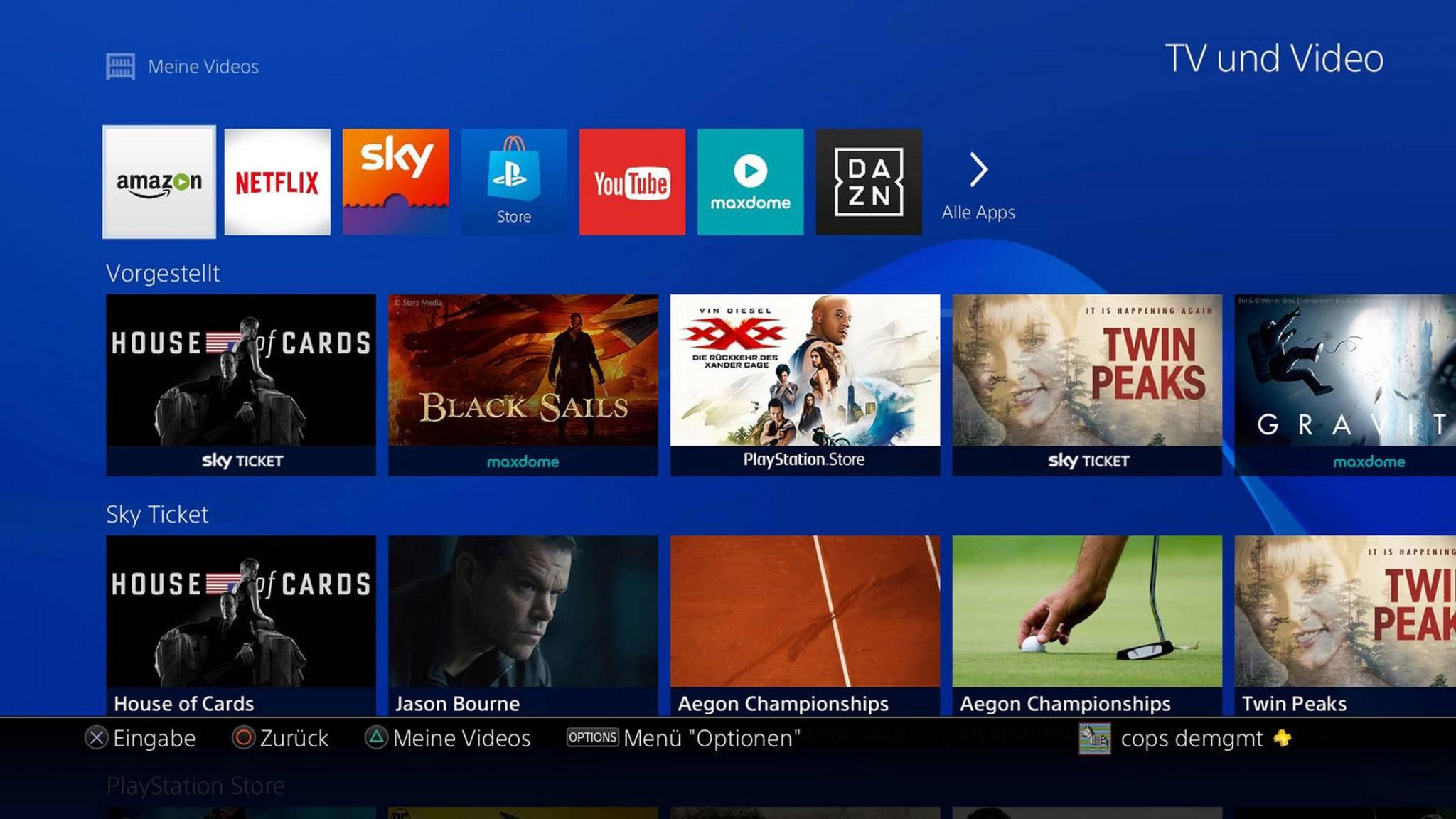 So sieht der überarbeitete Video-Bereich auf der PS4 aus.