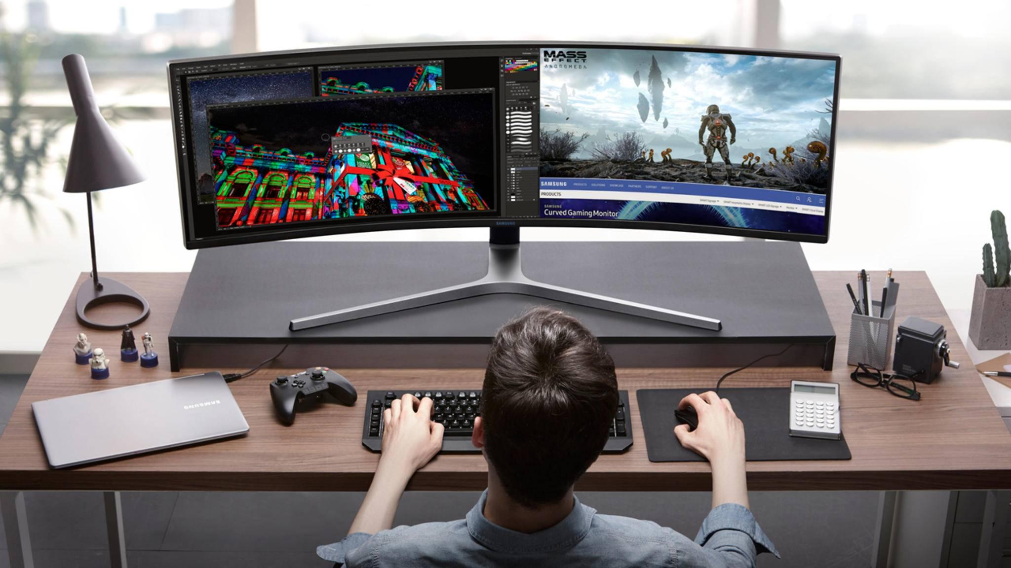 Der ultrabreite Gaming-Monitor von Samsung ist quasi ein halber Fernseher.