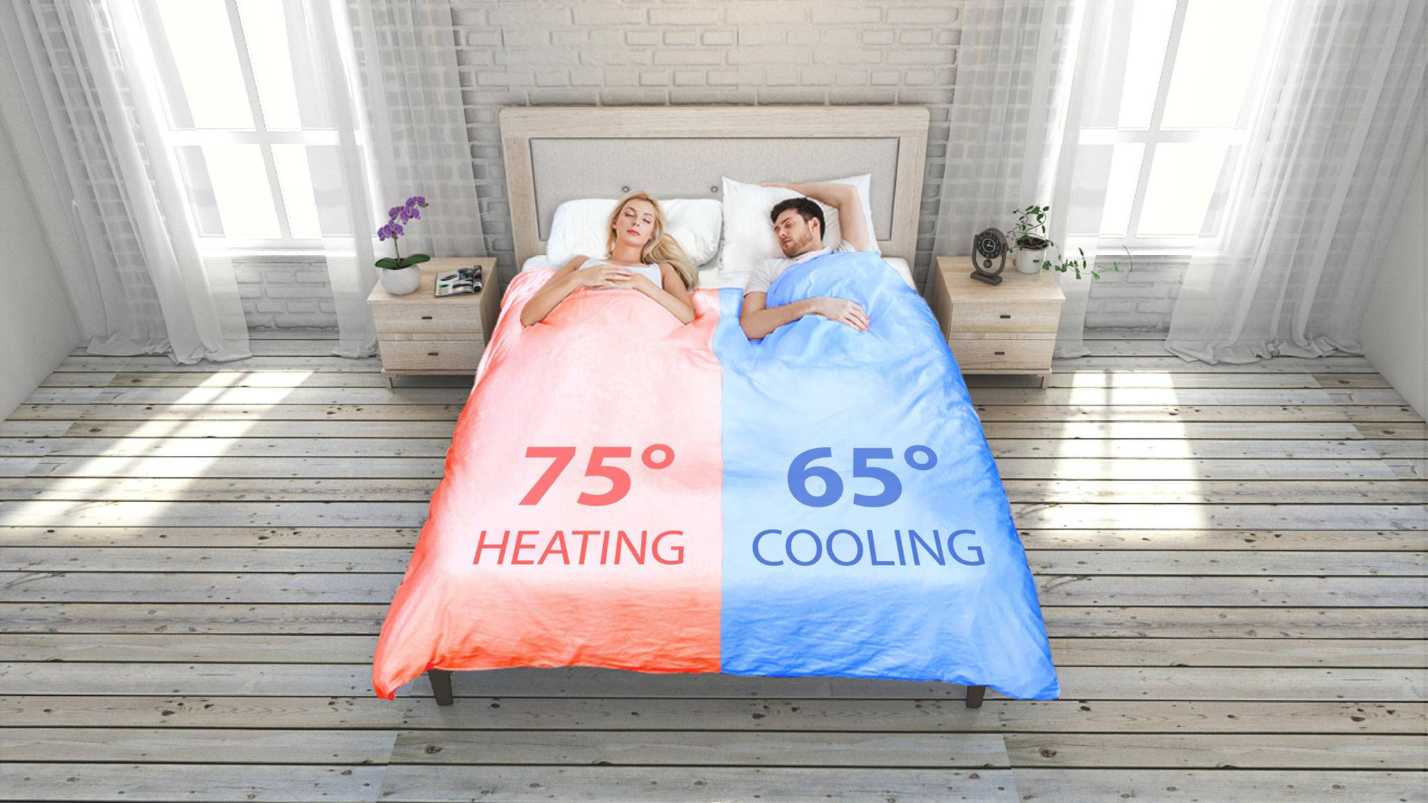 Die Temperaturen im Bett kannst Du dank Smartduvet Breeze selbst bestimmen. Die Angaben sind im Schaubild in Grad Fahrenheit angegeben.