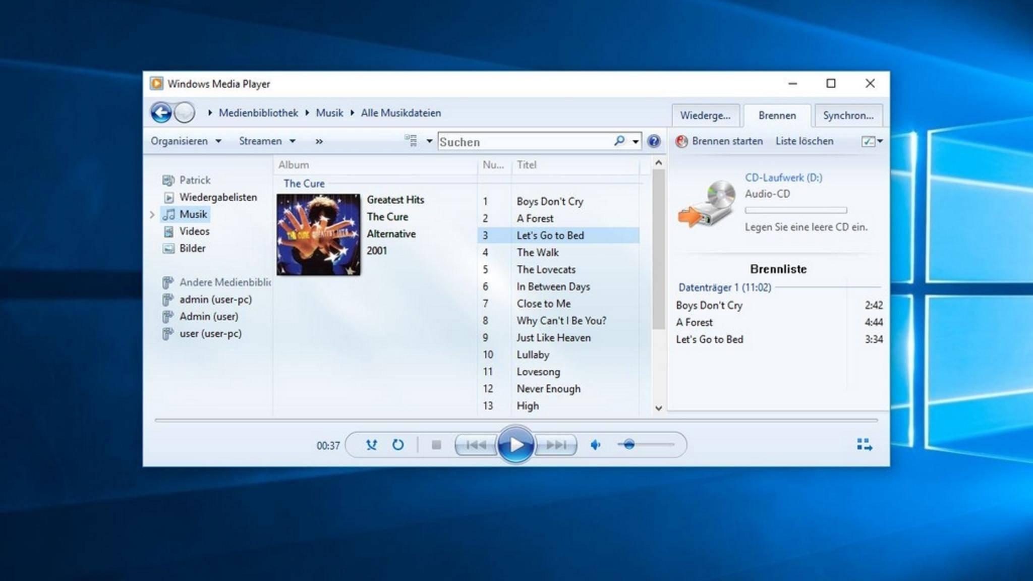 Anschließend ziehst Du die Songs oder Dateien in die Brennliste.
