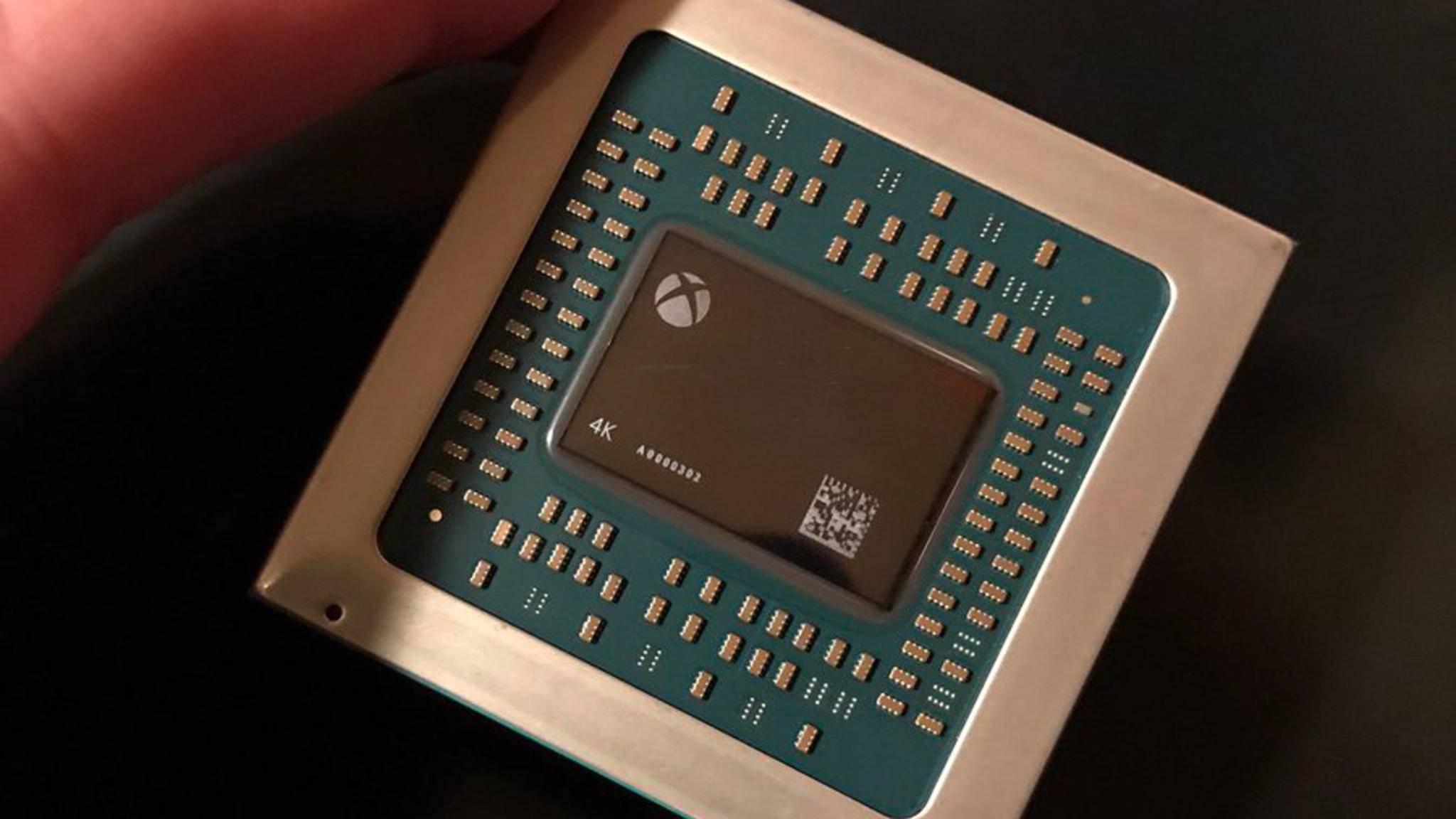 So sieht er aus, der Prozessor der Xbox Scorpio – mit 4K-Aufdruck.