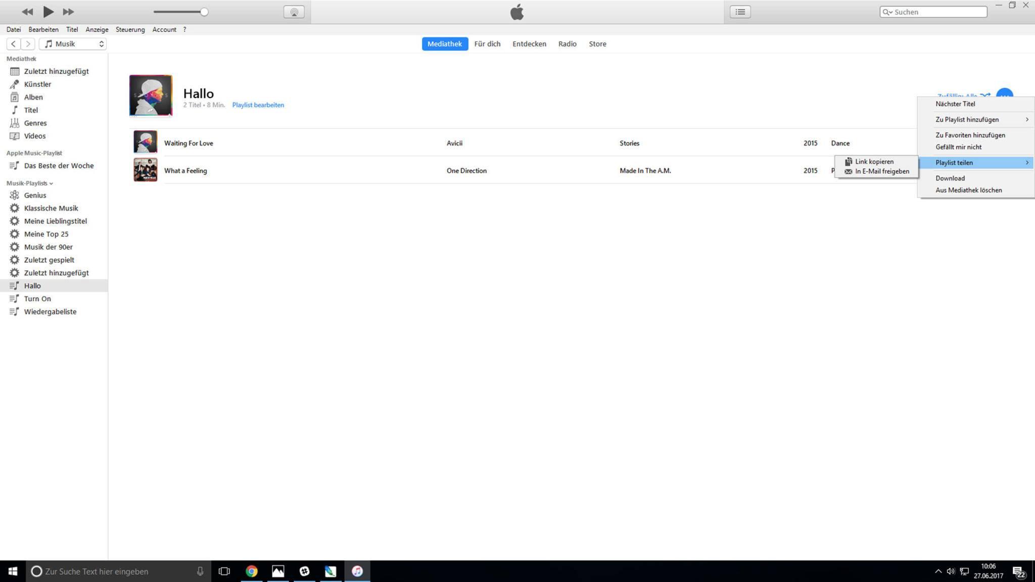 """...""""Playlist teilen"""" anklicken und wählen, ob der Link kopiert oder per Mail verschickt werden soll."""