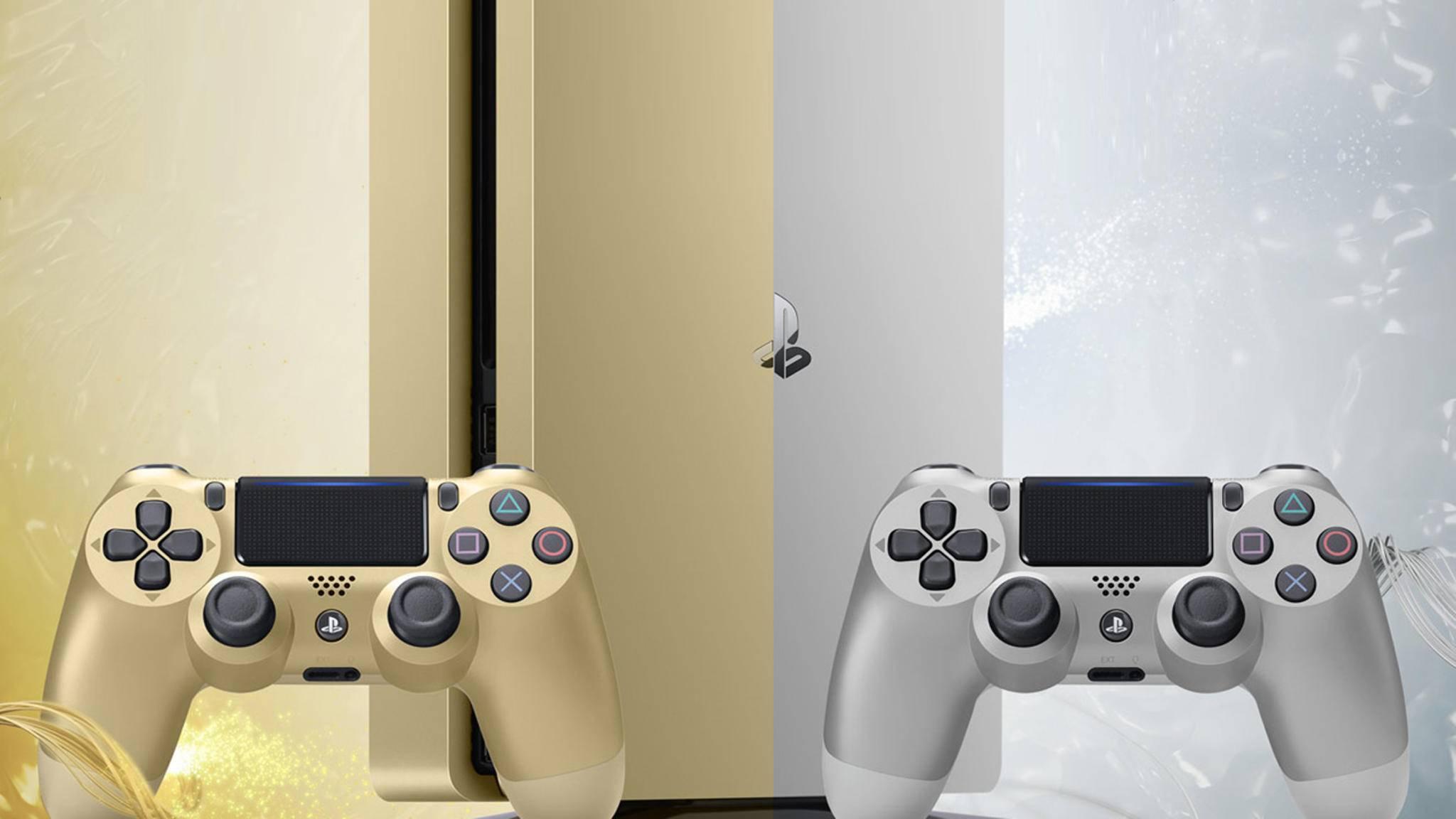 PS4 in Gold und in Silber.