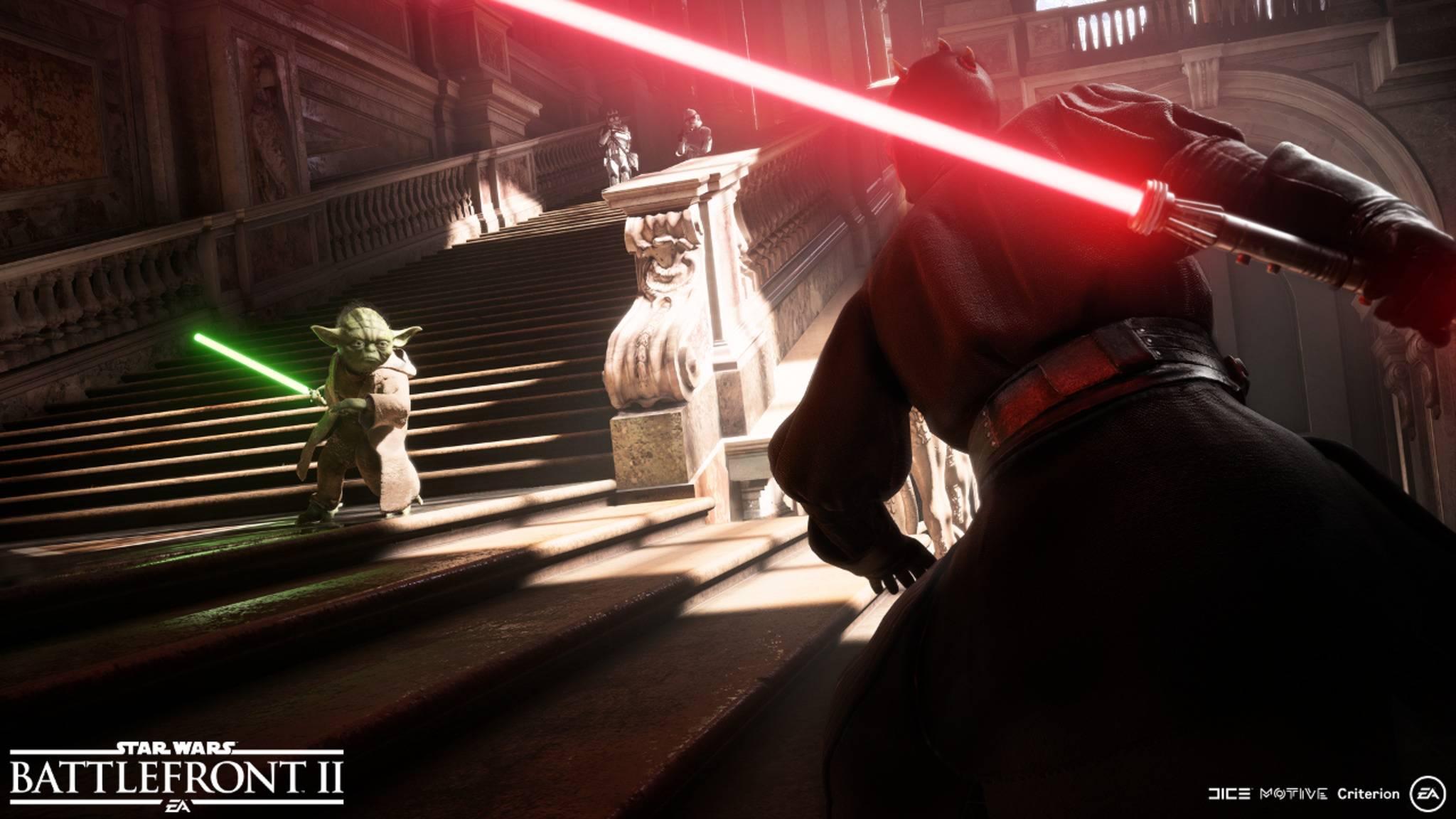 """Dass Yoda und Darth Maul in """"Star Wars: Battlefront 2"""" spielbar sein werden, ist schon länger bekannt. Nun gab es Zuwachs in der Heldenriege."""