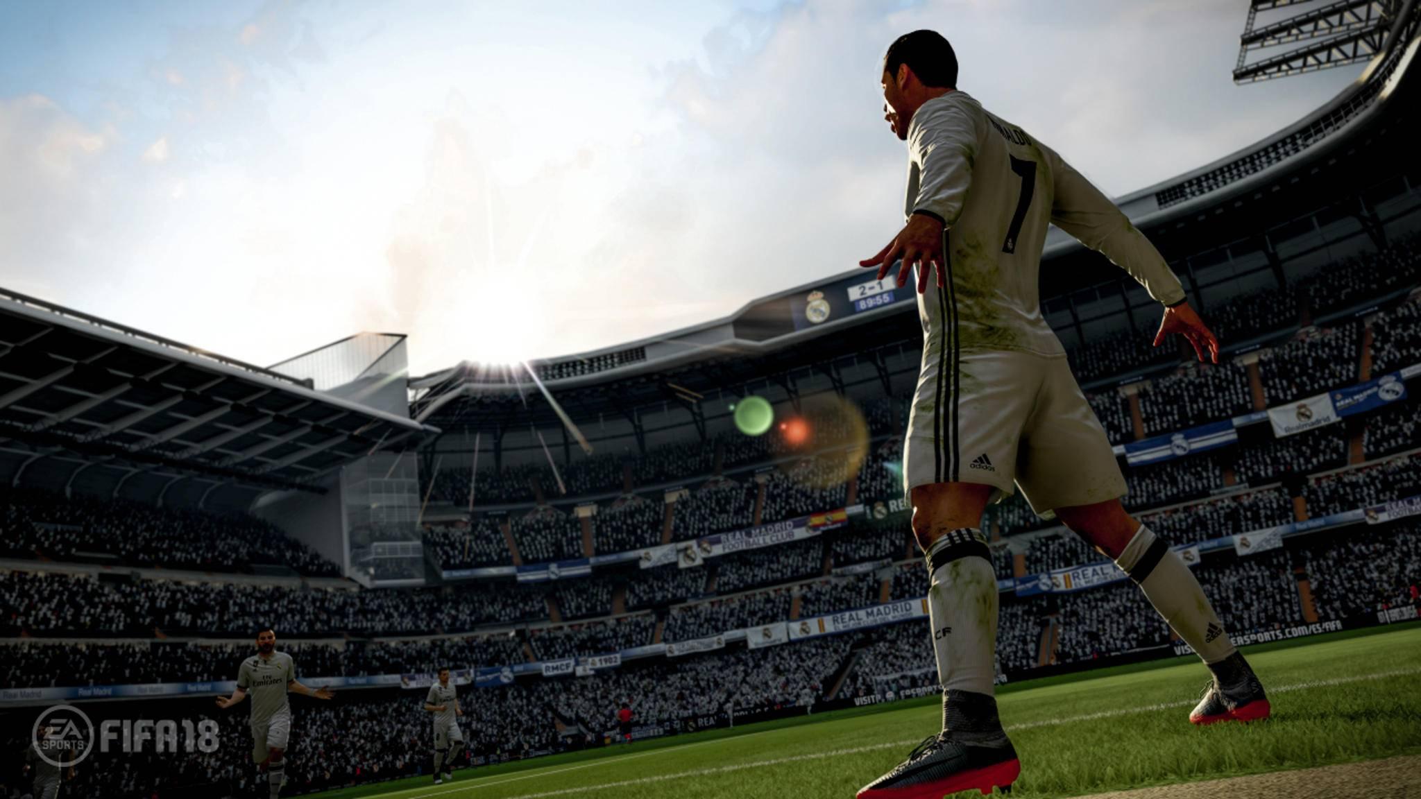 """Heute läuft """"FIFA 18"""" zum Probespielen auf den Platz."""