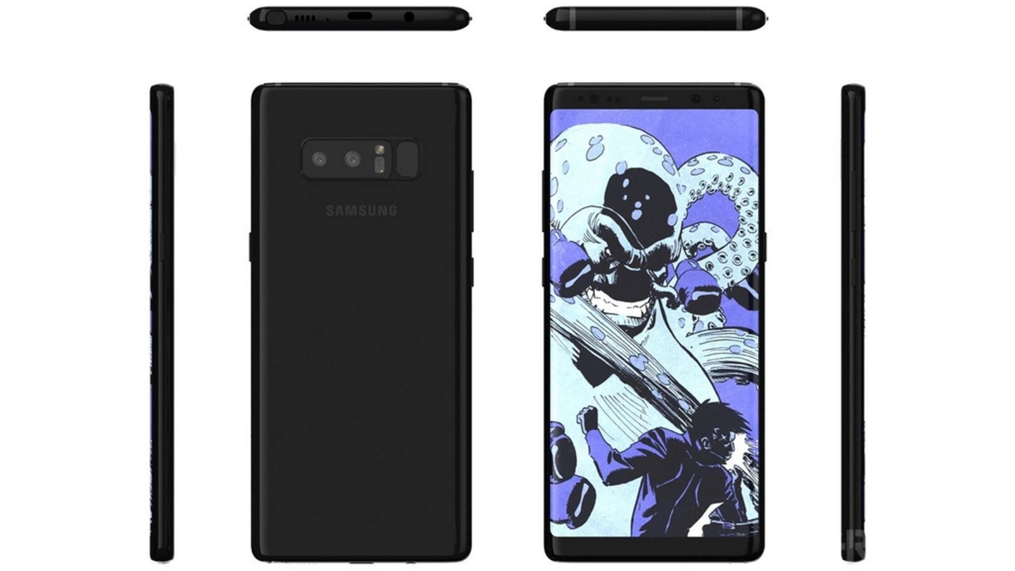 Diese Render-Bilder sollen das fertige Galaxy Note 8 zeigen.