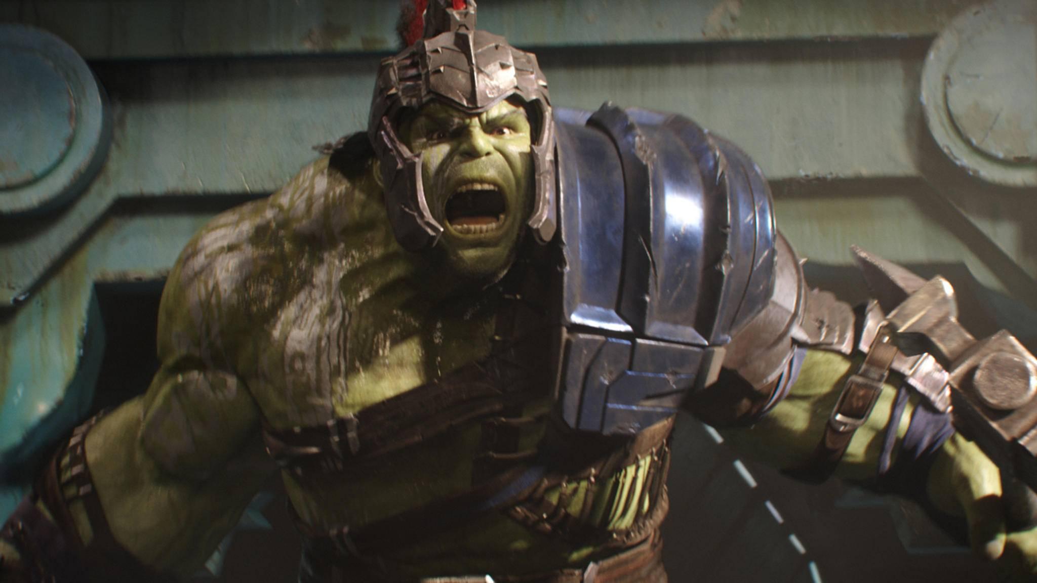 """Hulk wäre sicherlich wütend: Darsteller Mark Ruffalo ist auf der Premiere zu """"Thor 3"""" ein pikanter Fehler unterlaufen."""