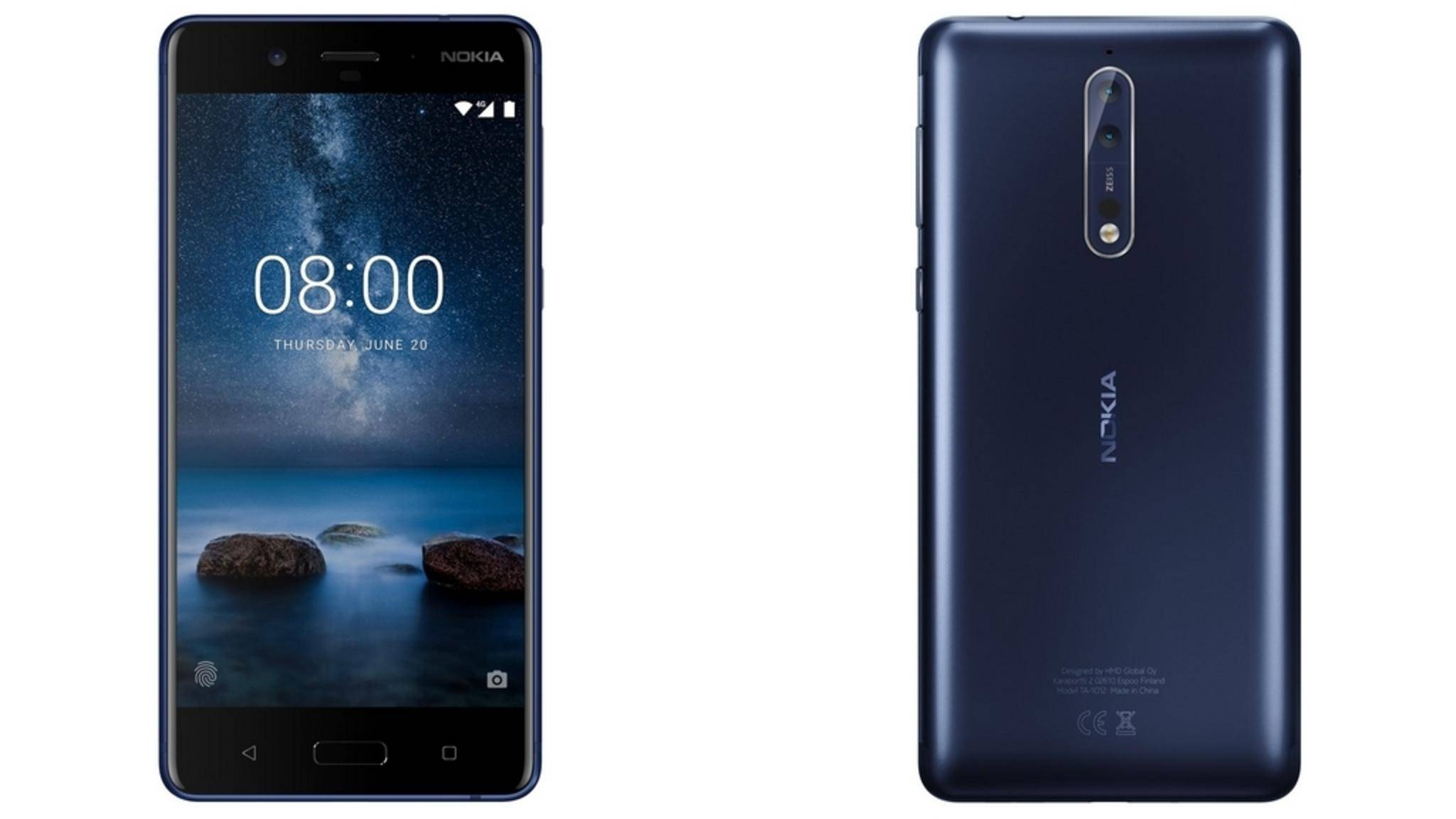 Neben anderen High-End-Features bietet das Nokia 8 eine hochauflösende Selfie-Kamera.