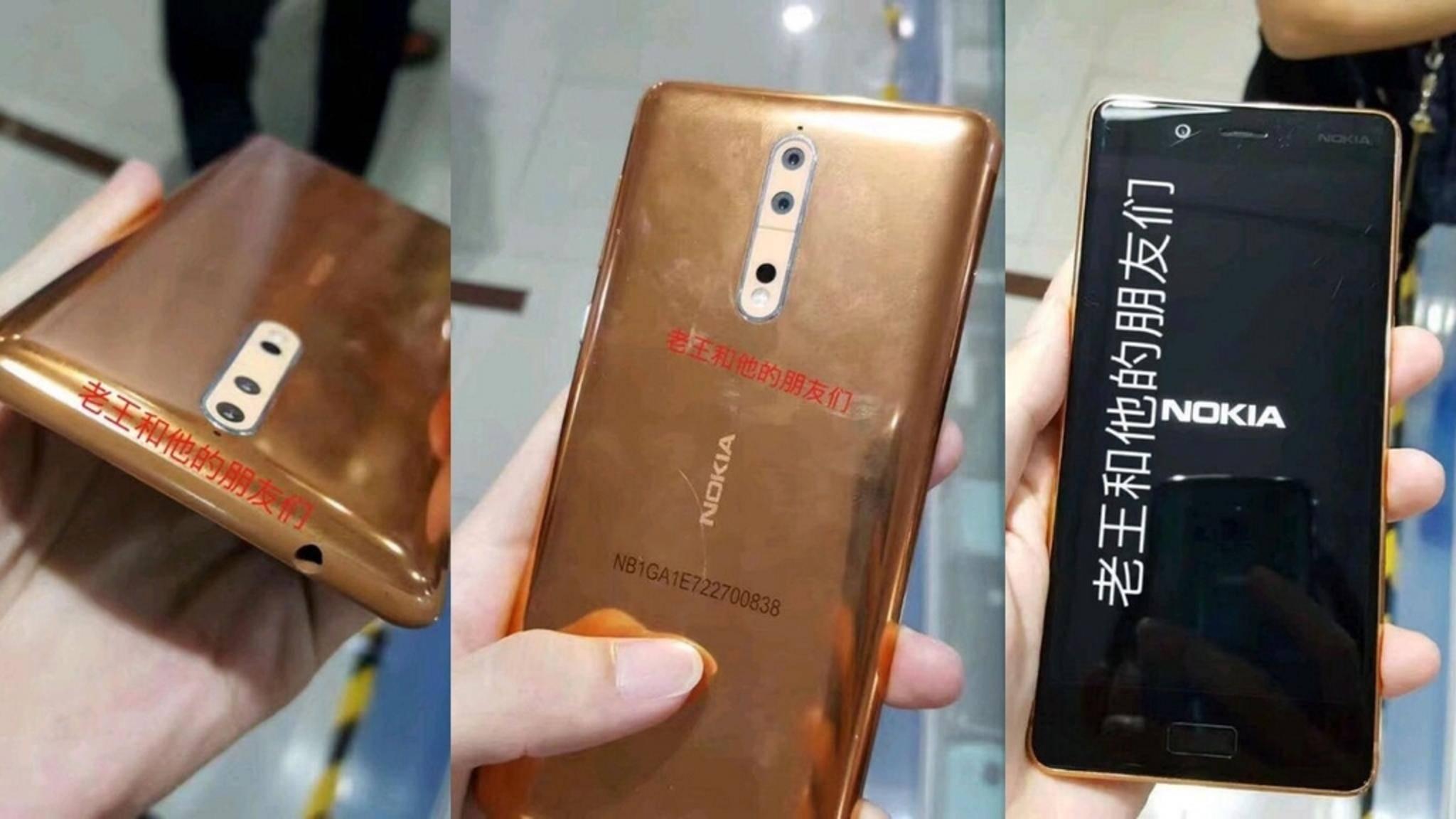 Dies soll das Nokia 8 in Kupfergold sein.