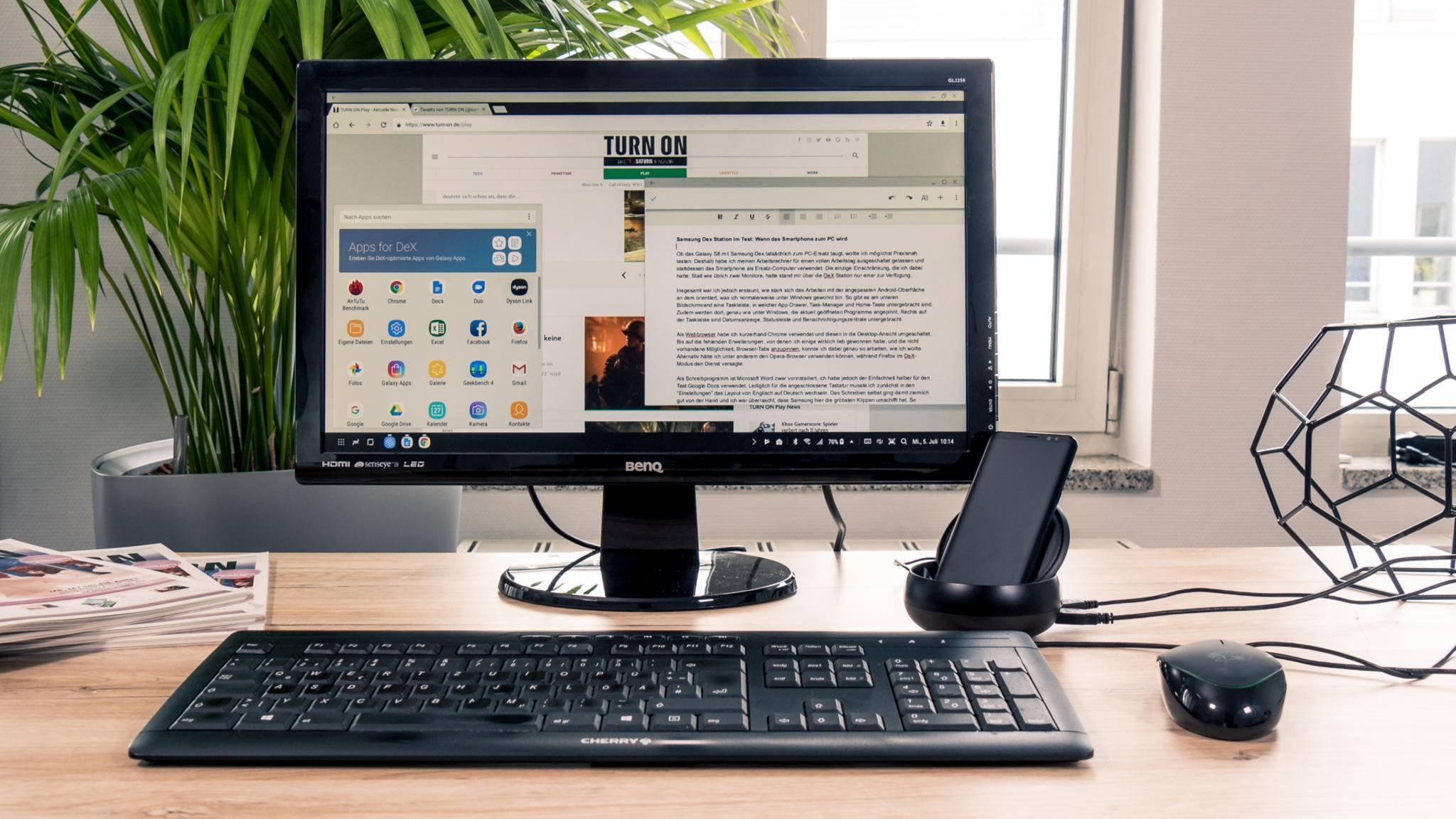 Samsung DeX bringt Android im Desktop-Modus auf den großen Bildschirm.
