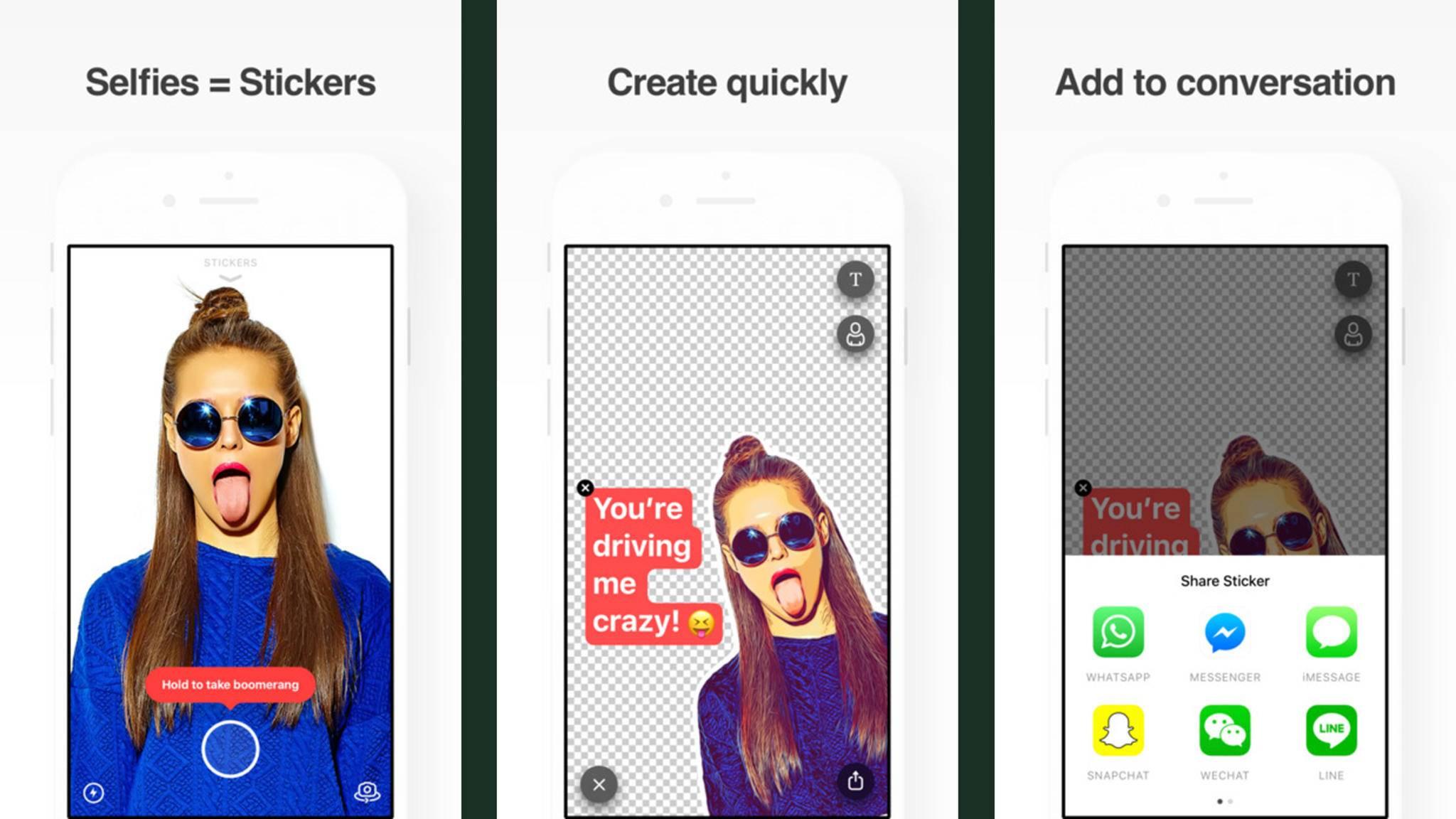 Sticky AI macht's möglich: Selfie machen, Filter aussuchen und schon kannst Du Deinen individuellen Sticker an Deine Freunde schicken.