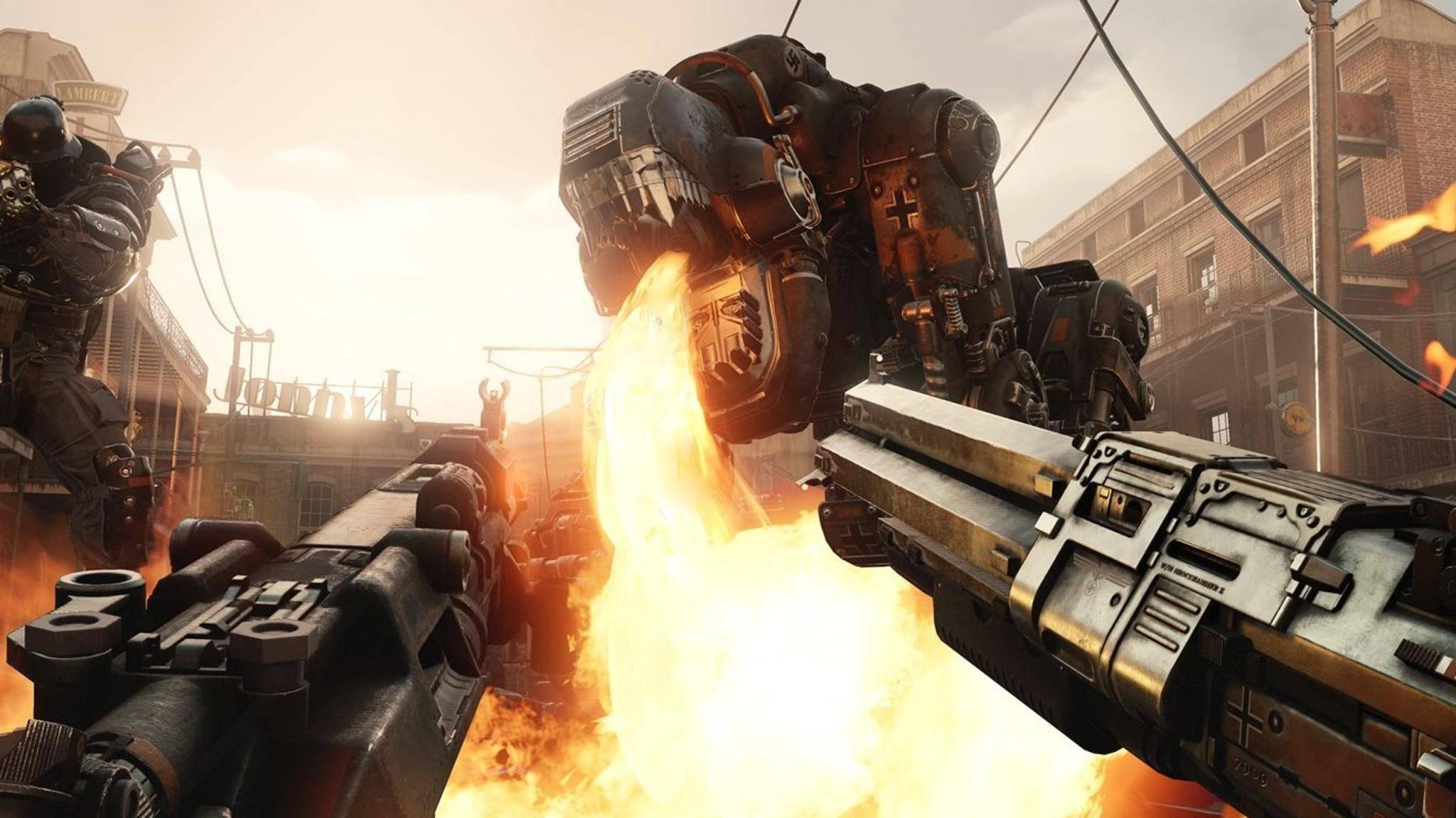 """Allein gegen Nazi-Roboter: """"Wolfenstein 2: The New Colossus"""" spart sich den Mehrspieler-Modus und konzentriert sich ganz auf die Story."""