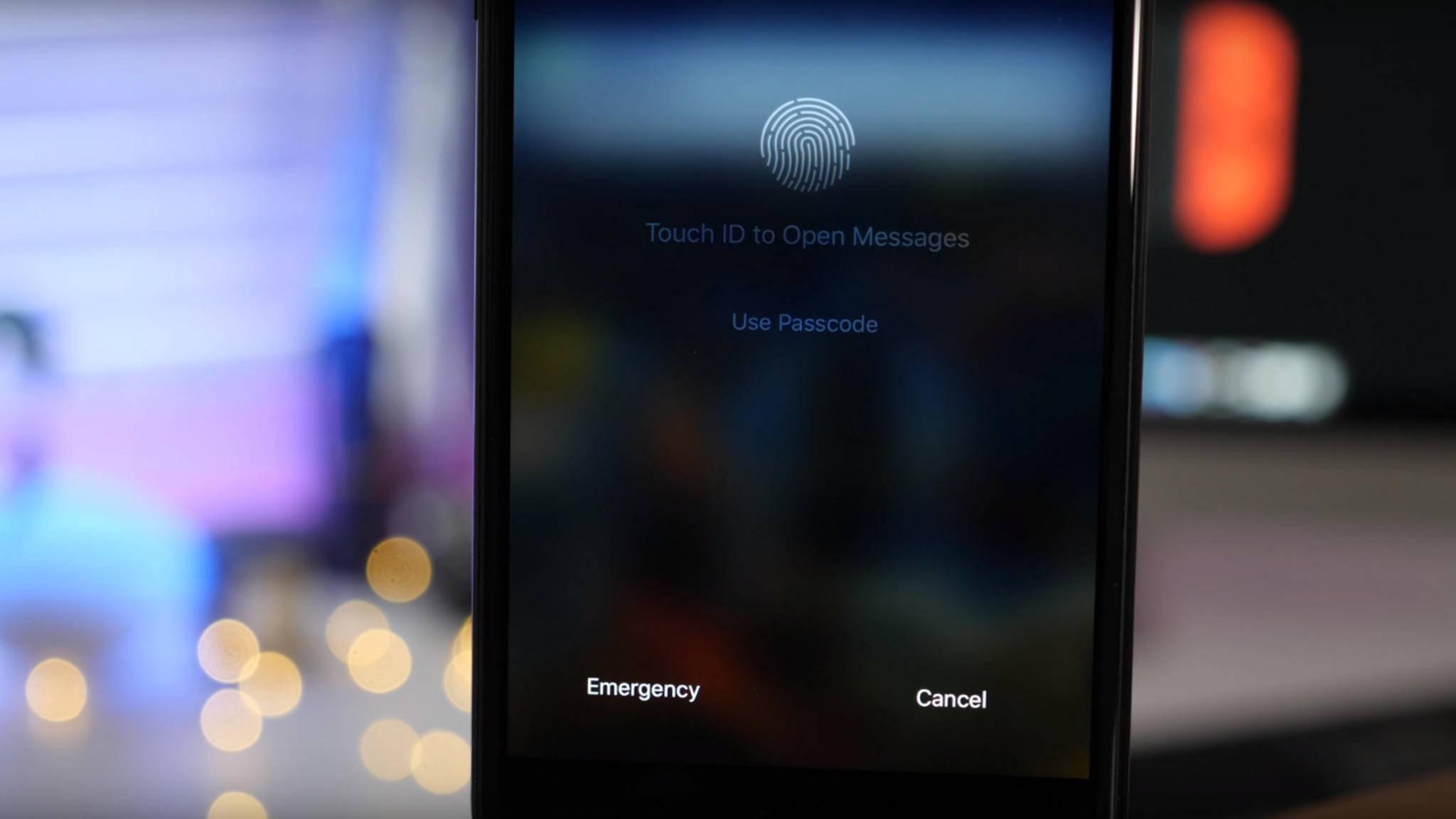 Eine neue Funktion in iOS 11 weist prominent auf Touch ID hin.
