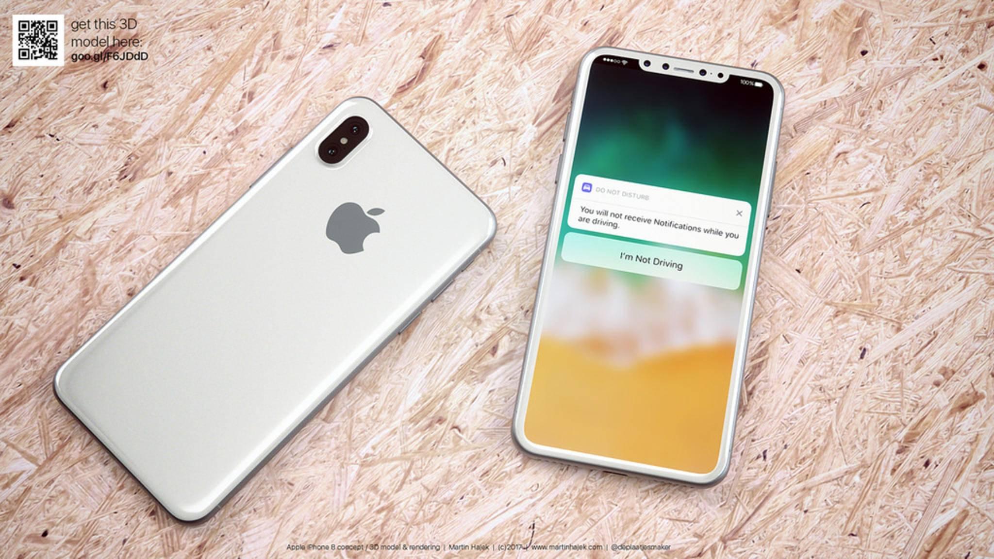Martin Hajek zeigt endlich mal ein iPhone-8-Konzept in Weiß.