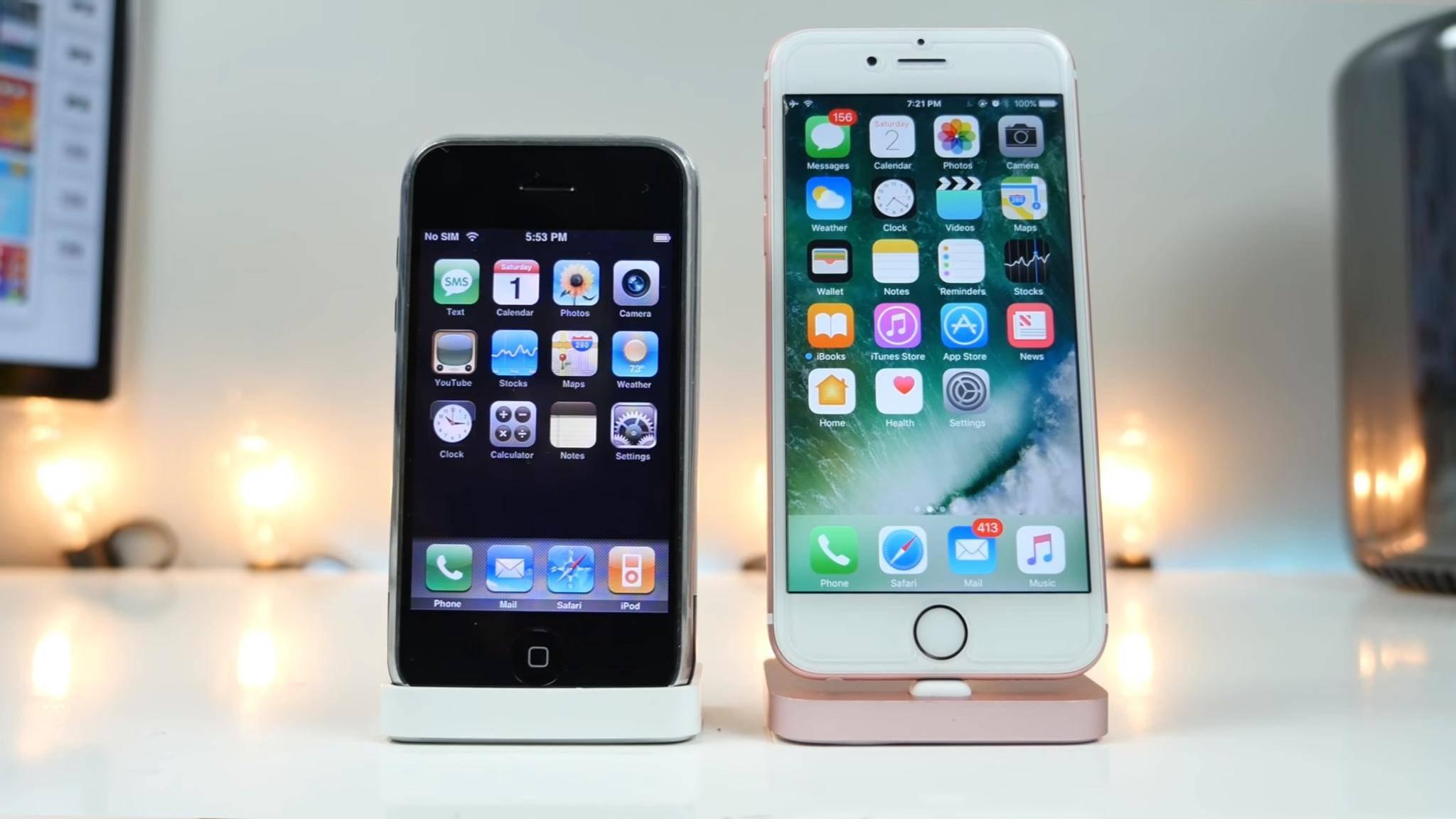 Seit iPhone OS 1 (links) bis zu iOS 10 (rechts) hat sich viel getan.