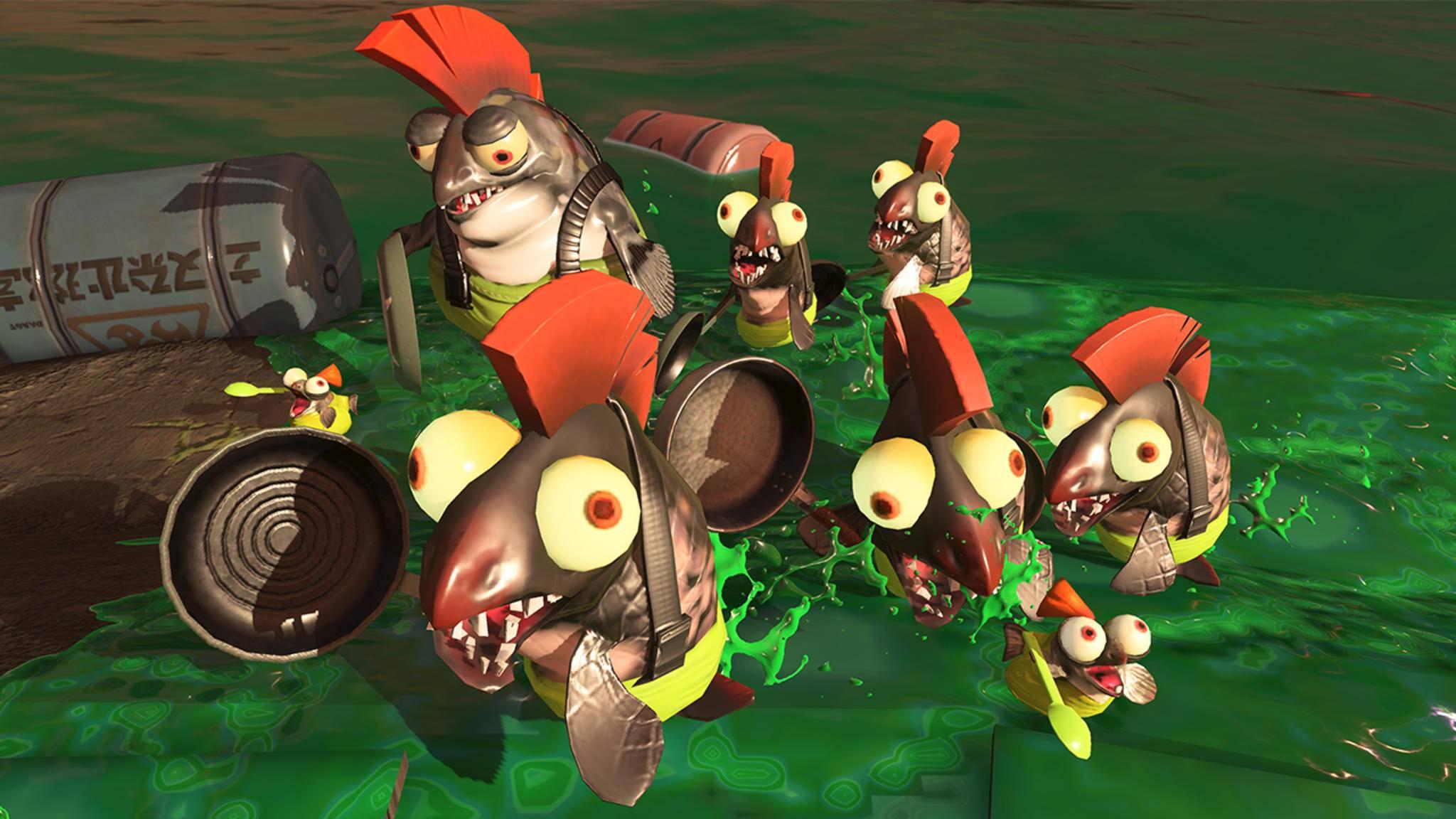 """Lachse in verschiedenen Mutationsstufen machen Dir im Salmon Run von """"Splatoon 2"""" das Leben schwer."""