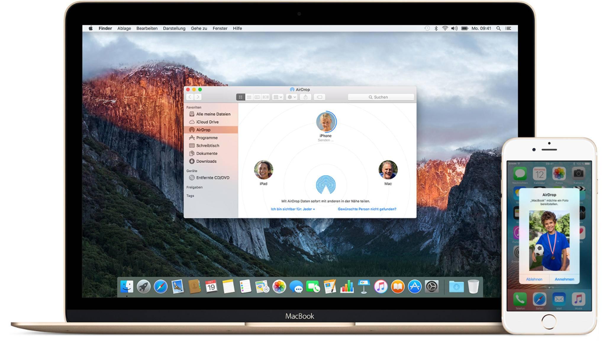 Sowohl auf dem Mac als auch dem iPhone kannst Du AirDrop nutzen.
