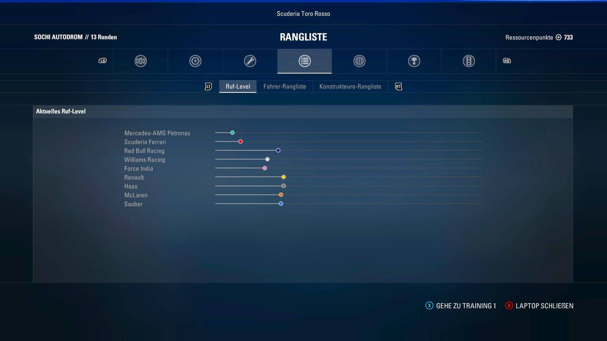 Diese Übersicht zeigt das Ansehen des Spielers bei den Teams.