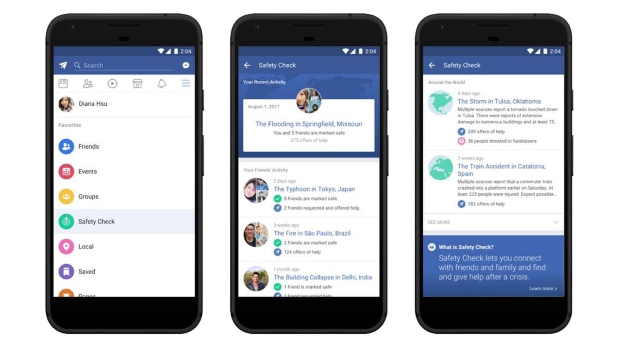 Der Safety Check wird nun bei Facebook unter den Favoriten untergebracht.