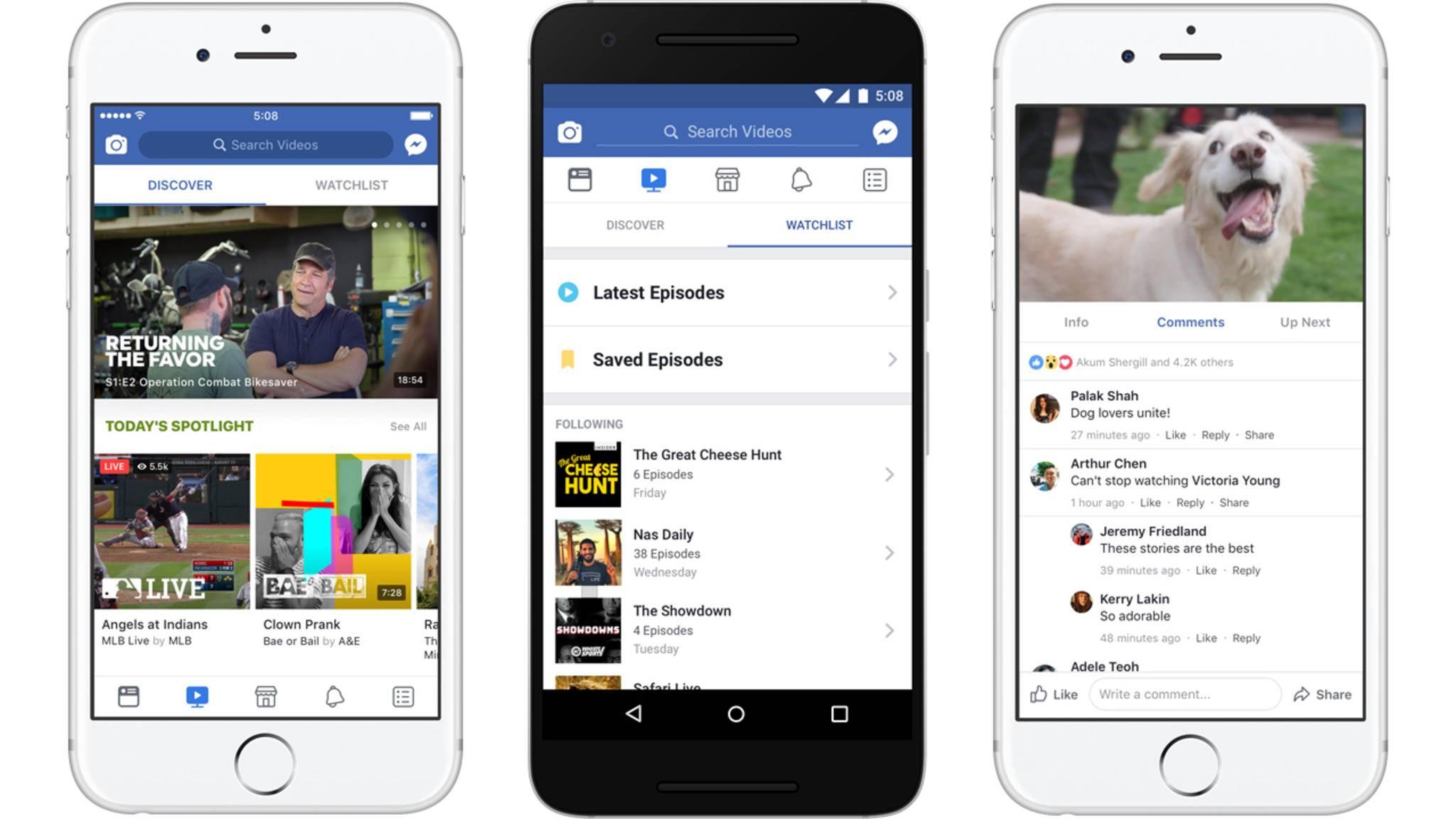 Facebooks neue Videoplattform wird es für Mobile, Desktop und Smart TV geben.