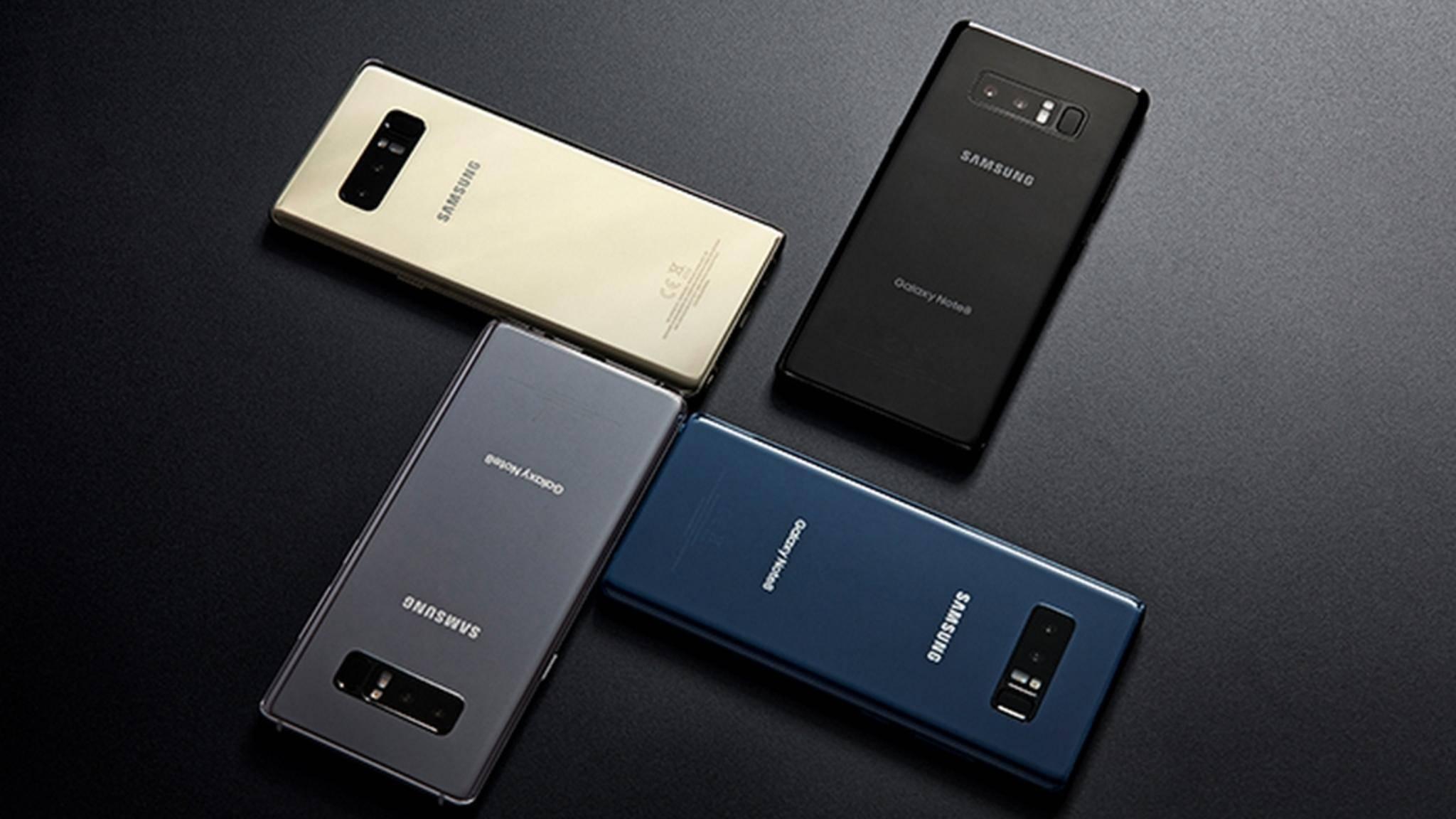 Das Samsung Galaxy Note 8 kommt in vier Farben.