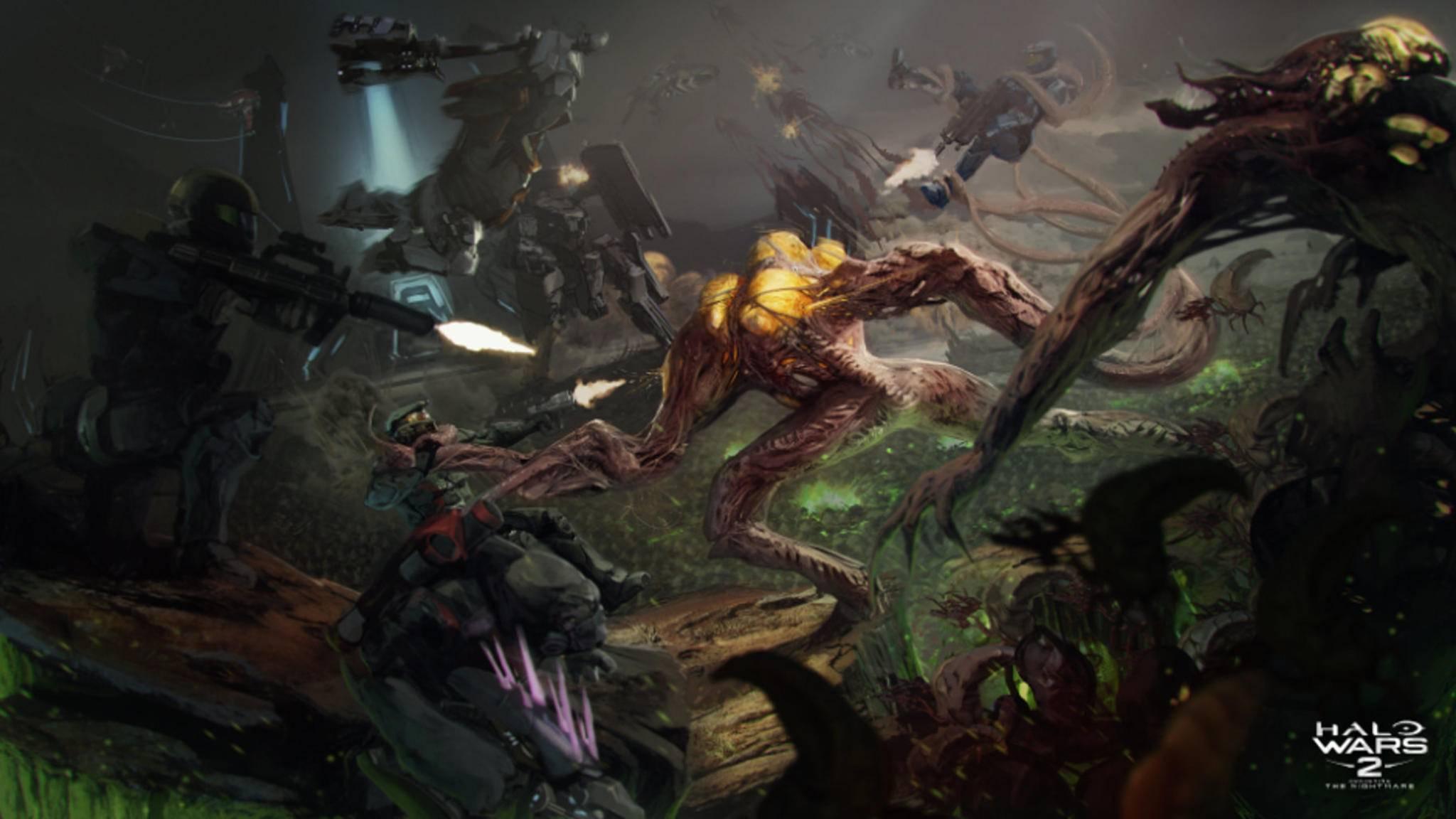 """Die parasitäre Flut bricht über """"Halo Wars 2"""" hinein."""
