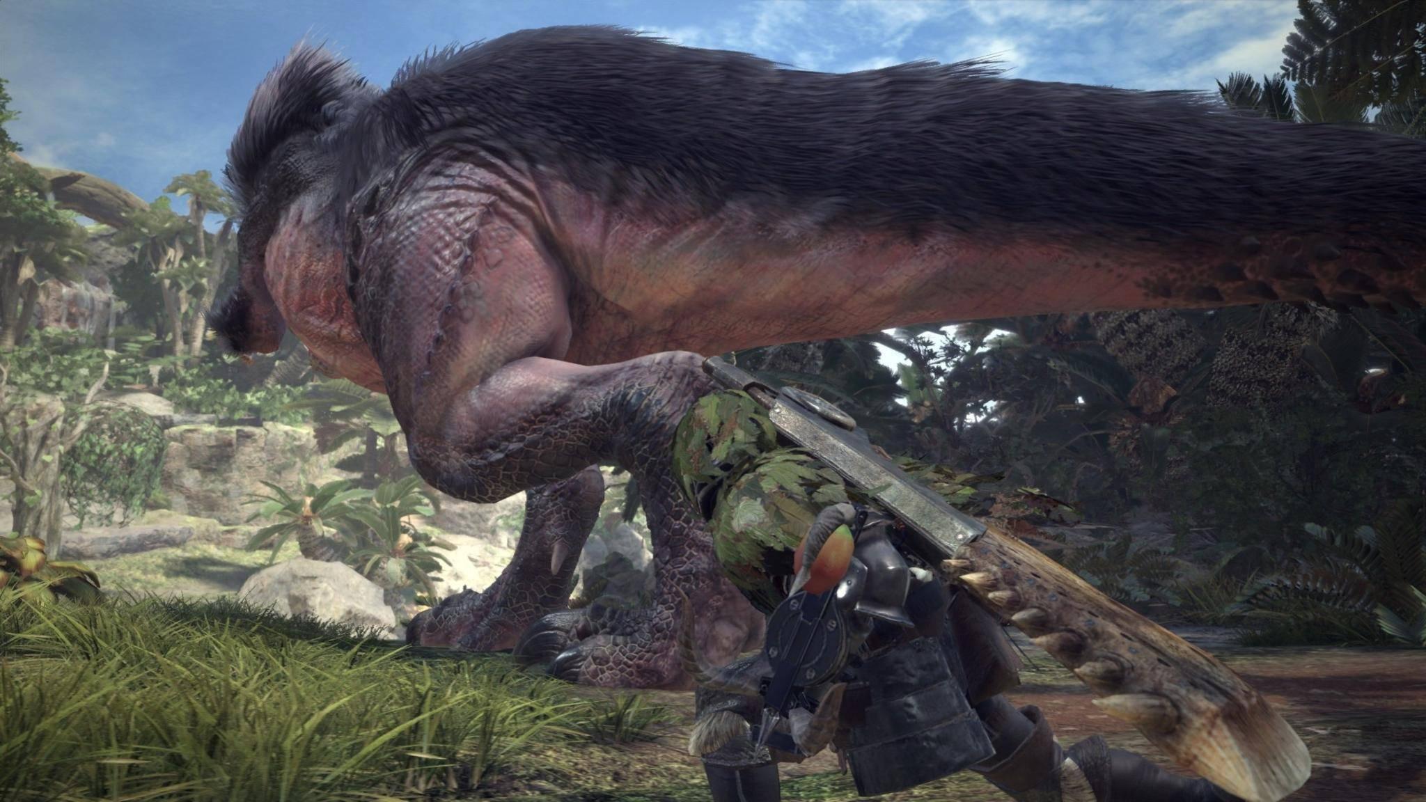 """An riesigen Gegnern herrscht in """"Monster Hunter: World"""" kein Mangel. Gut, dass das Waffenarsenal in punkto Größe mithalten kann."""