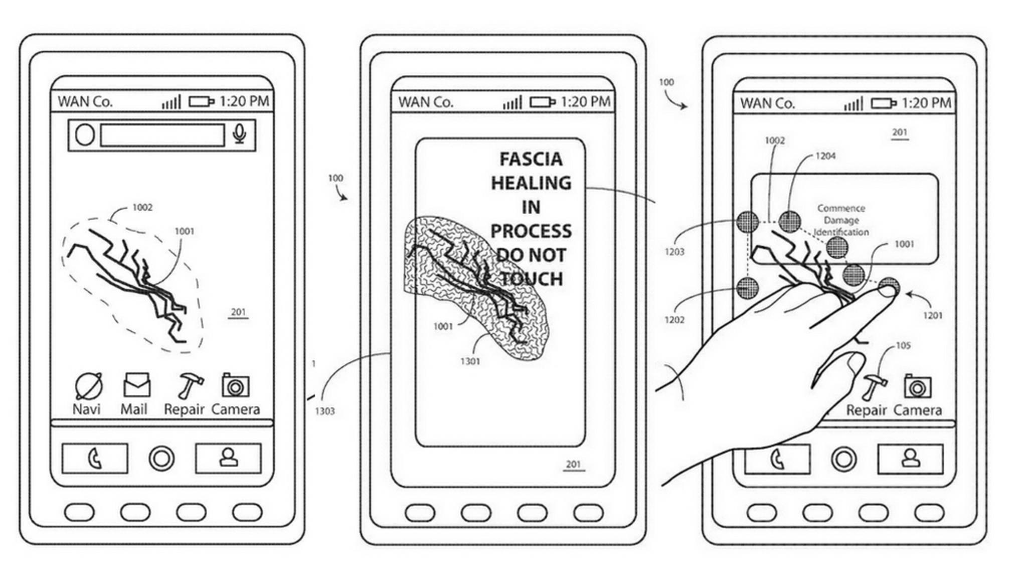 So soll das selbstheilende Display von Motorola funktionieren.