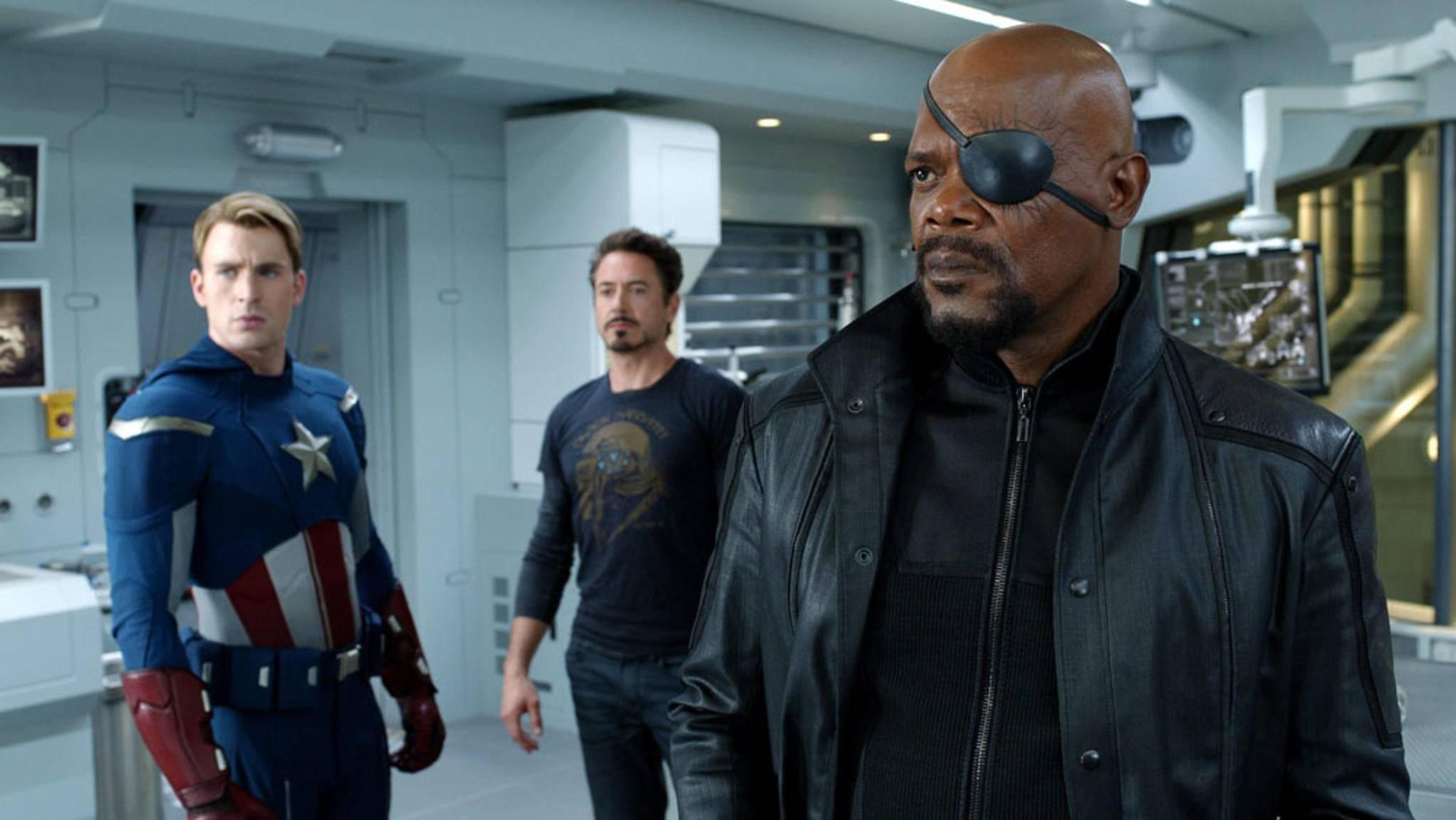 """Nick Fury (rechts) machte die Avengers erst zum Team, doch in """"Infinity War"""" und dem bislang unbenannten vierten Film wird der Mann mit der Augenklappe nicht zu sehen sein."""