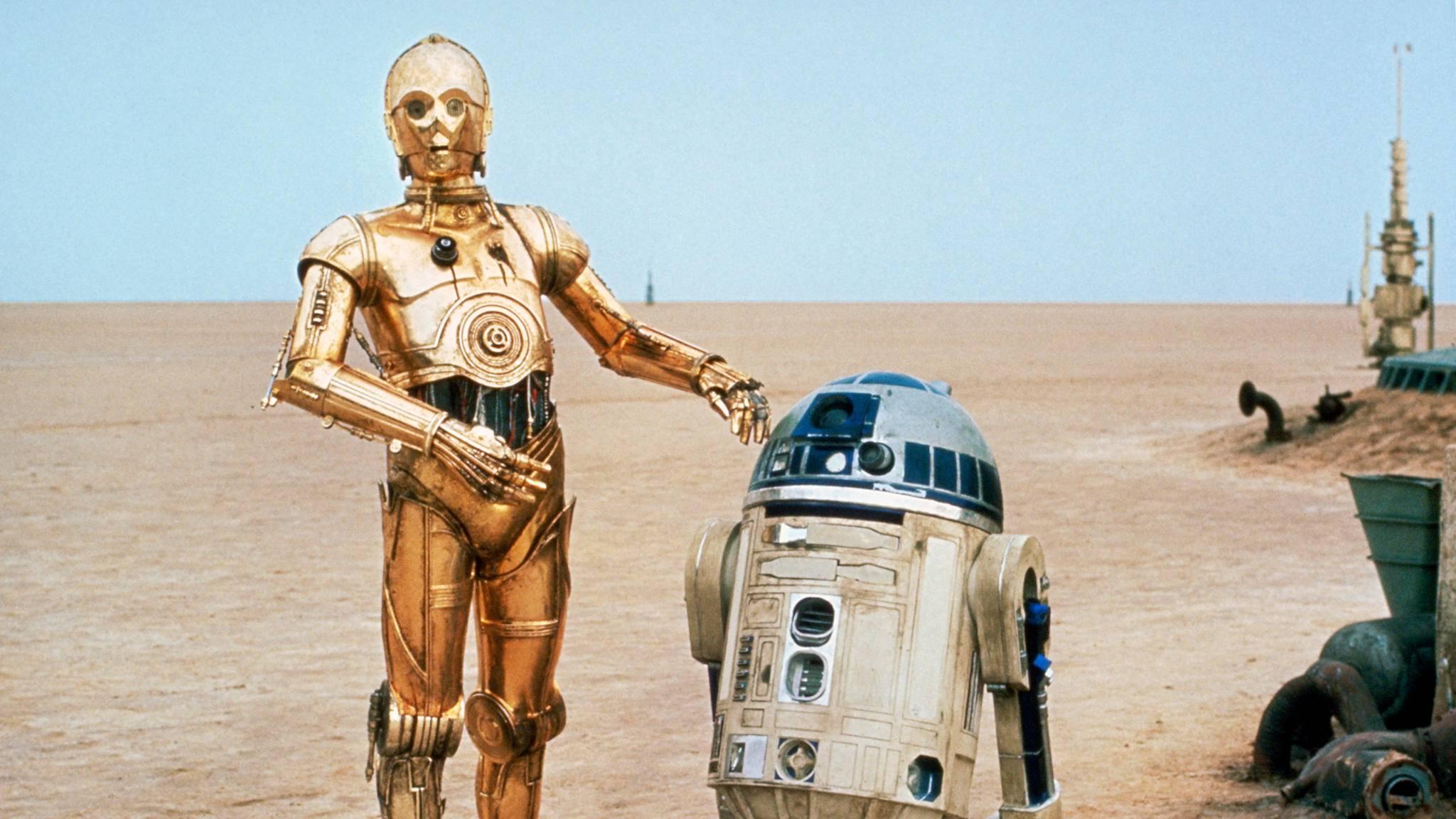 """Ab Oktober auf einer Briefmarke verewigt: Die """"Star Wars""""-Droiden C-3PO und R2-D2."""
