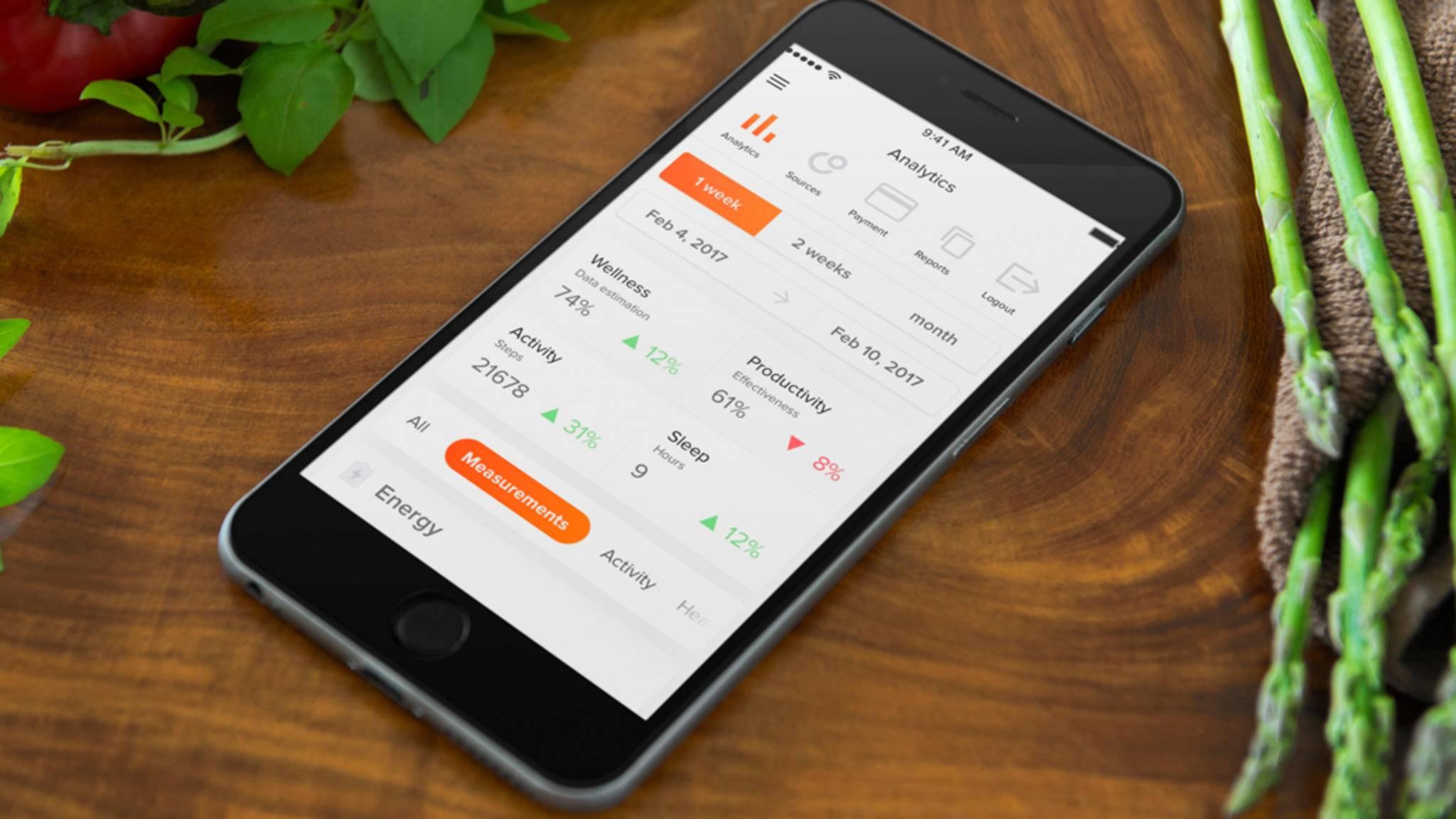 Die App Welltory soll dem User aufzeigen, welche Verhaltensweisen und Umwelteinflüsse sich auf sein Energie- und Stresslevel auswirken.