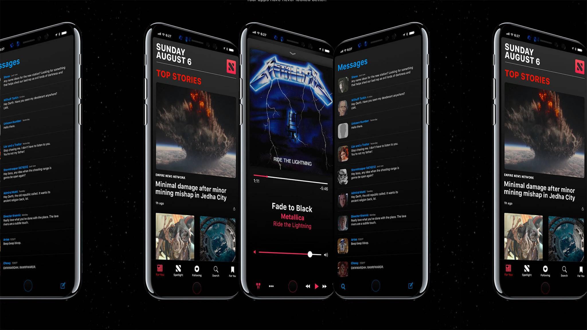 Dark Mode & Home-Bar: So stellt sich ein Designer das iPhone 8 vor.