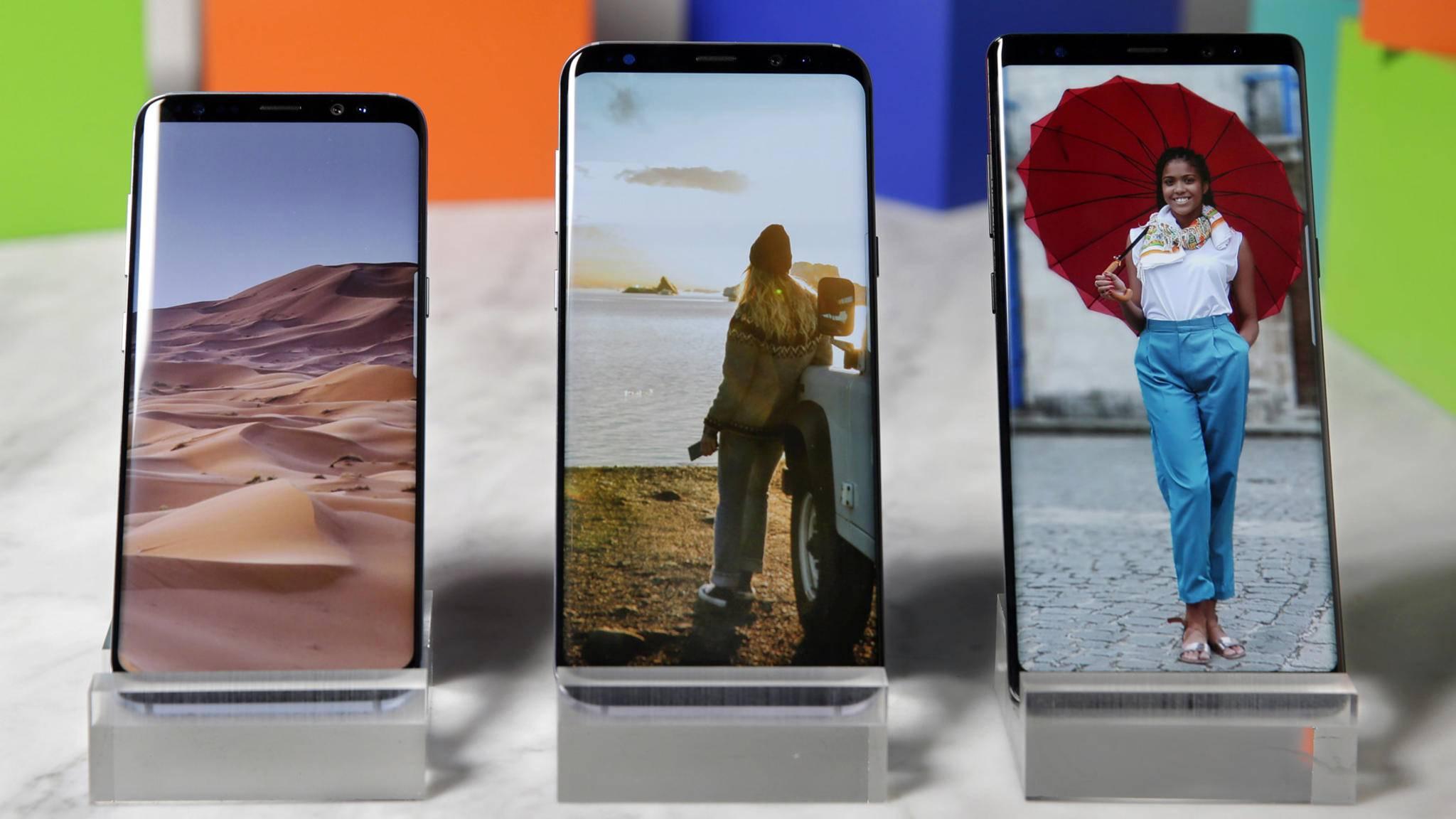 Wir klären die großen Unterschiede zwischen Galaxy S8 (links), S8 Plus (Mitte) und Galaxy Note 8 (rechts).