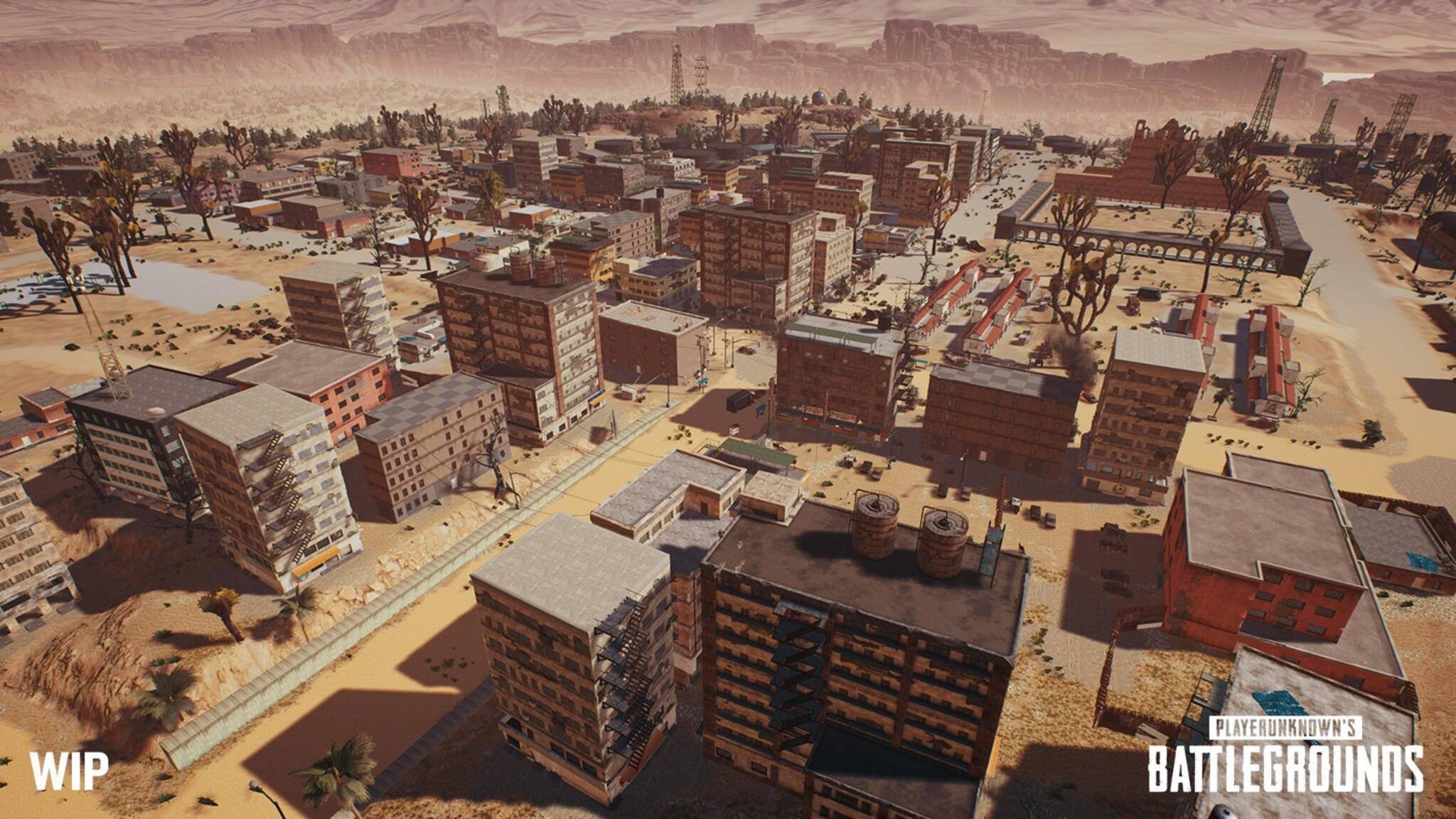 """So sieht die neue Wüsten-Map für """"PUBG"""" von der Seite aus. Nun gibt es auch einen Blick aus der Vogelperspektive."""