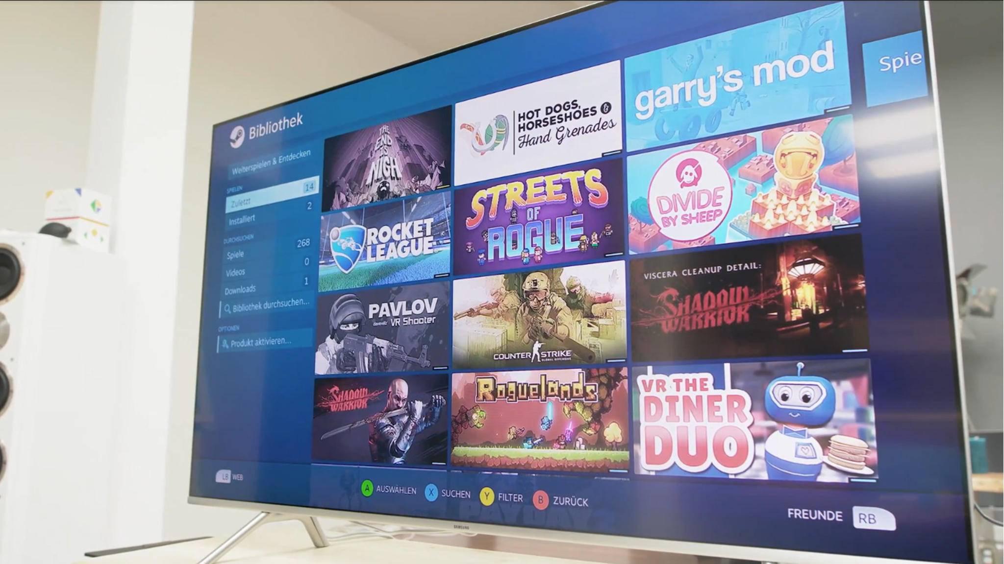 Nach der Verbindung mit dem PC kann man im Handumdrehen Steam-Games auf dem Fernseher spielen.