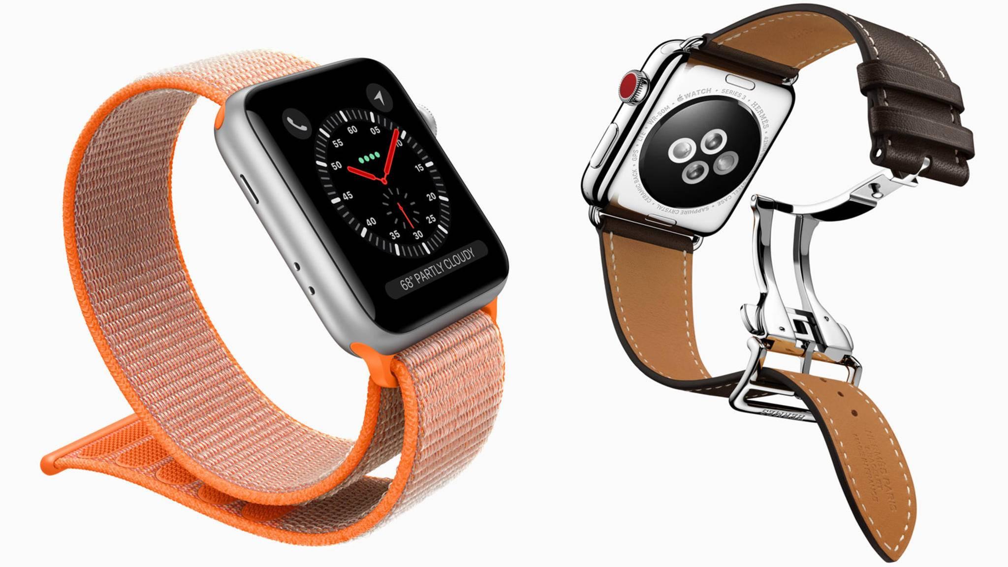 Dank ins Display integrierter LTE-Antenne ist die neue Apple Watch 3 in Sachen Uhrenband extrem flexibel.