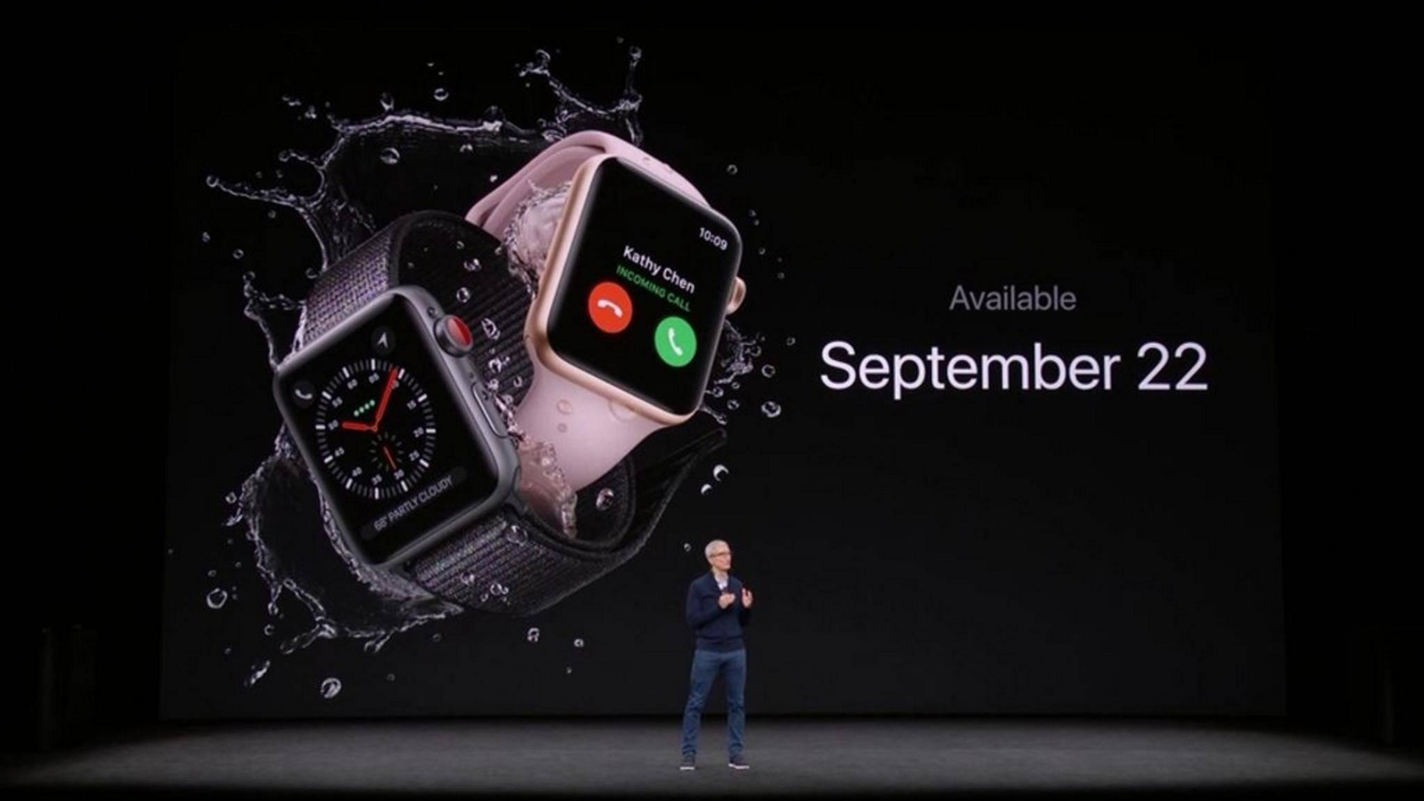 Die Apple Watch Series 3 mit LTE & eSIM.