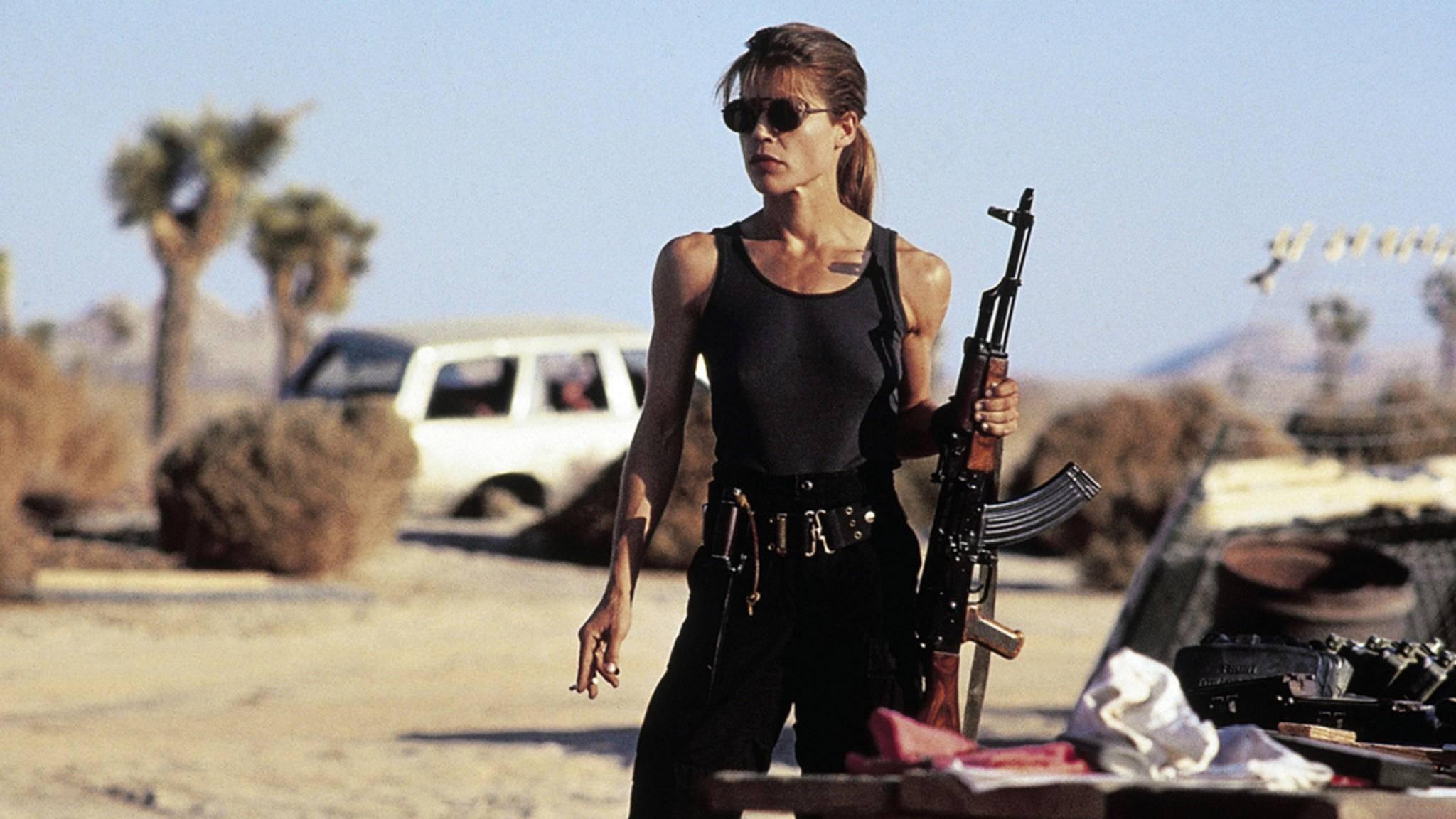 """1991 zeigte sich Sarah Connor (Linda Hamilton) in """"Terminator 2: Tag der Abrechnung"""" von ihrer schlagkräftigen Seite. In """"Terminator 6"""" zieht sie erneut in den Kampf."""