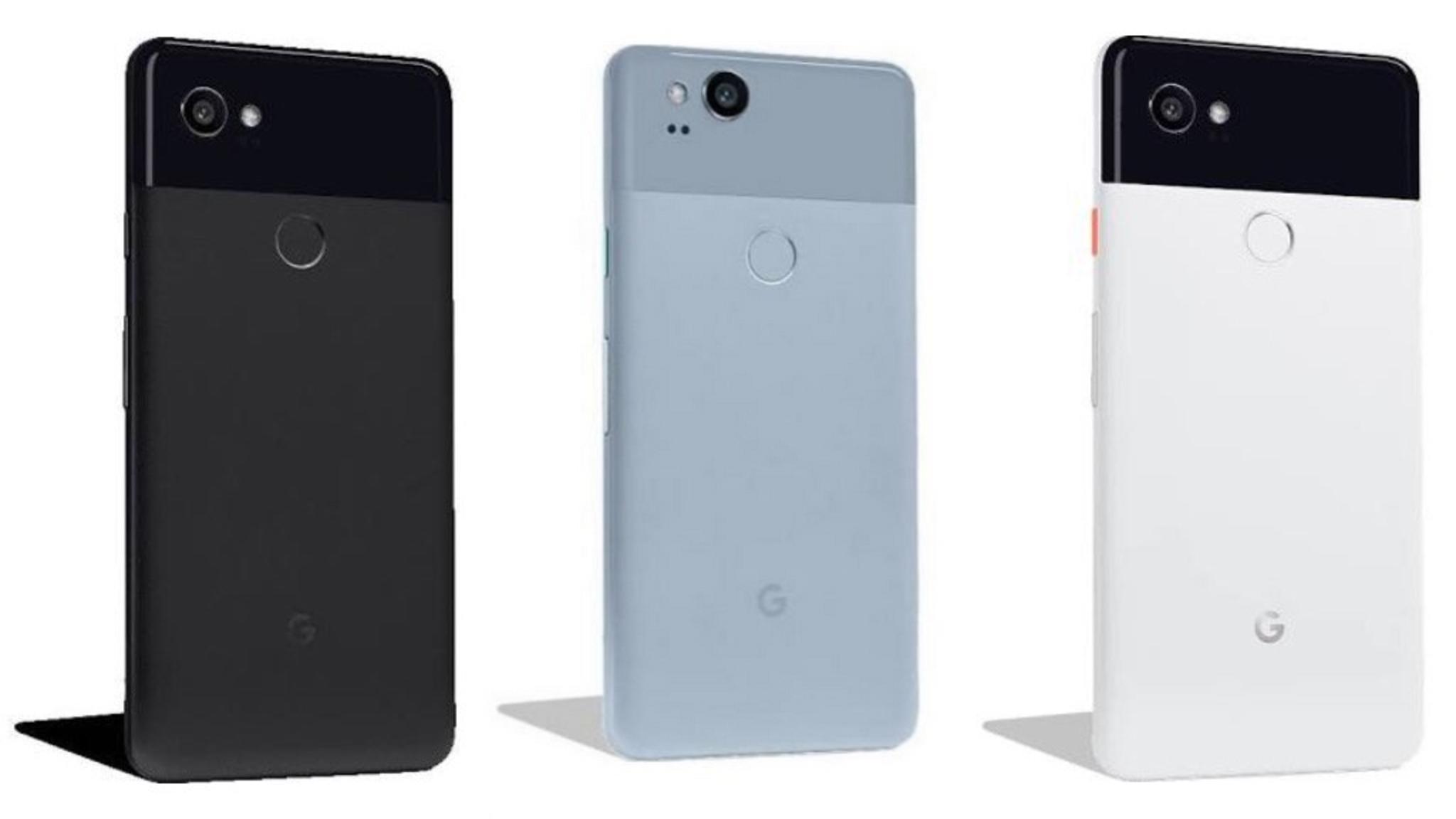 Das Pixel 2 steht in der Mitte, rechts und links das Pixel 2 XL.