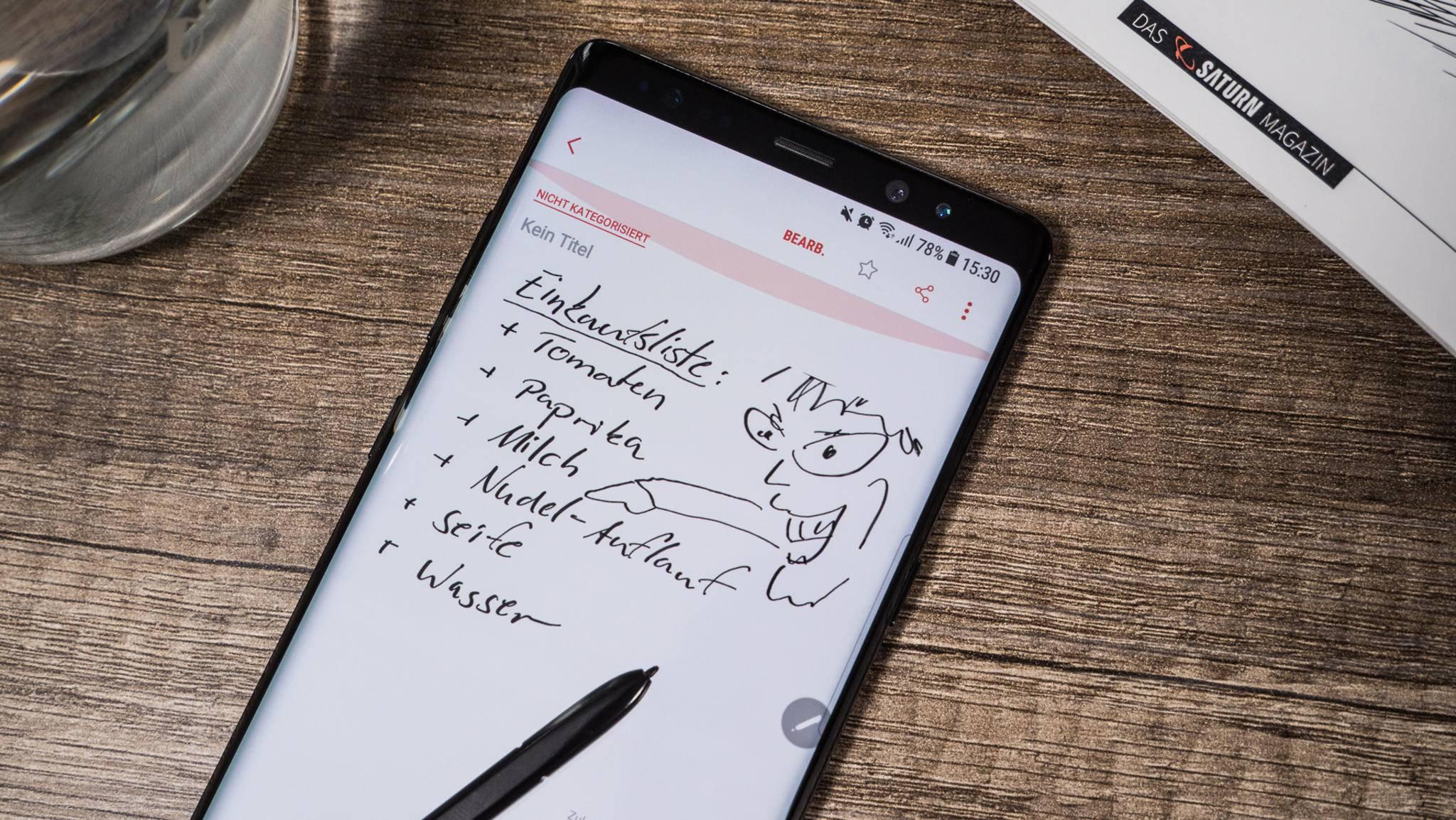 Mit dem S-Pen kannst Du Notizen machen, zeichnen und mehr.