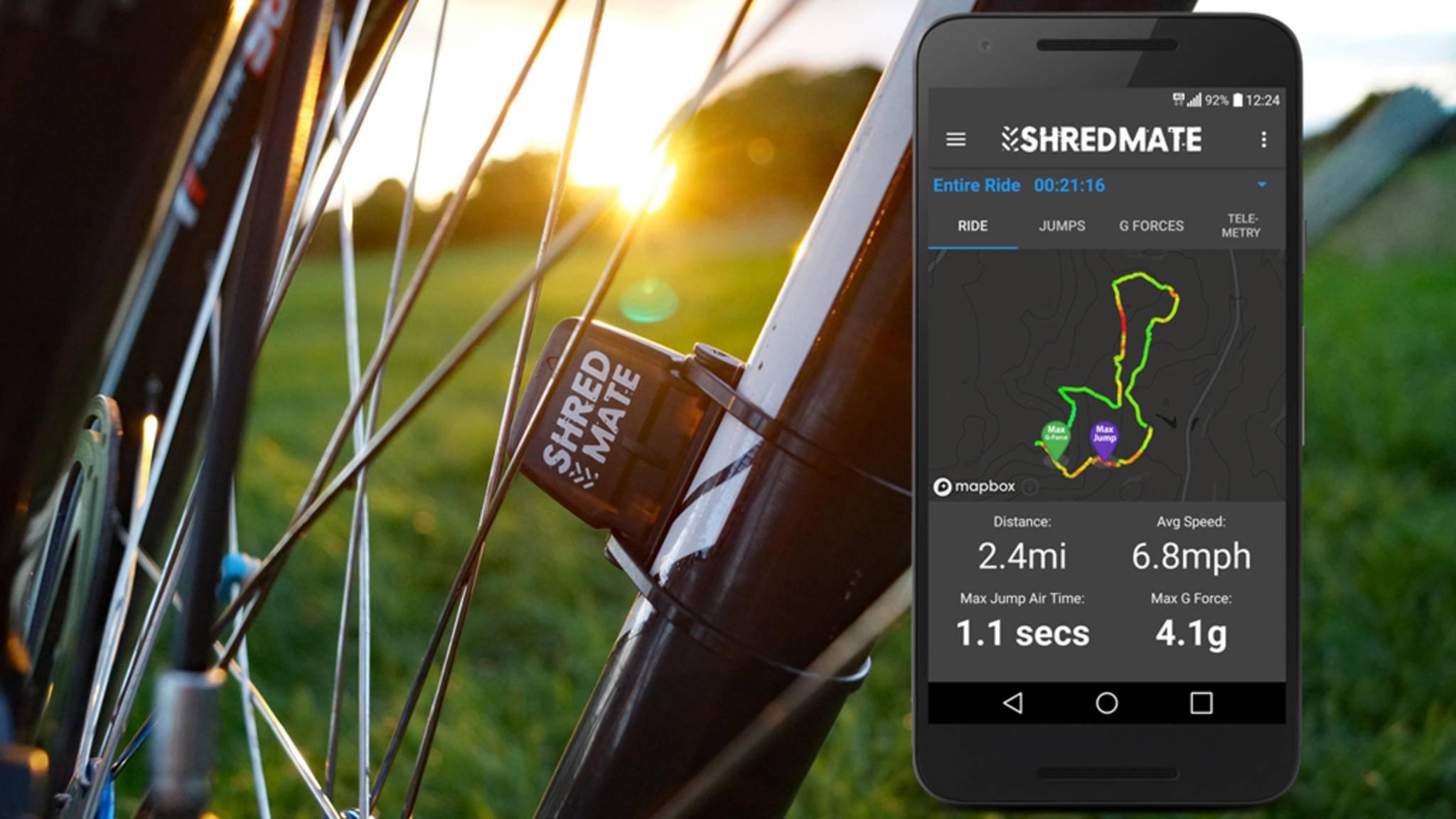 ShredMate wertet Deine Mountainbike-Tour genau aus.